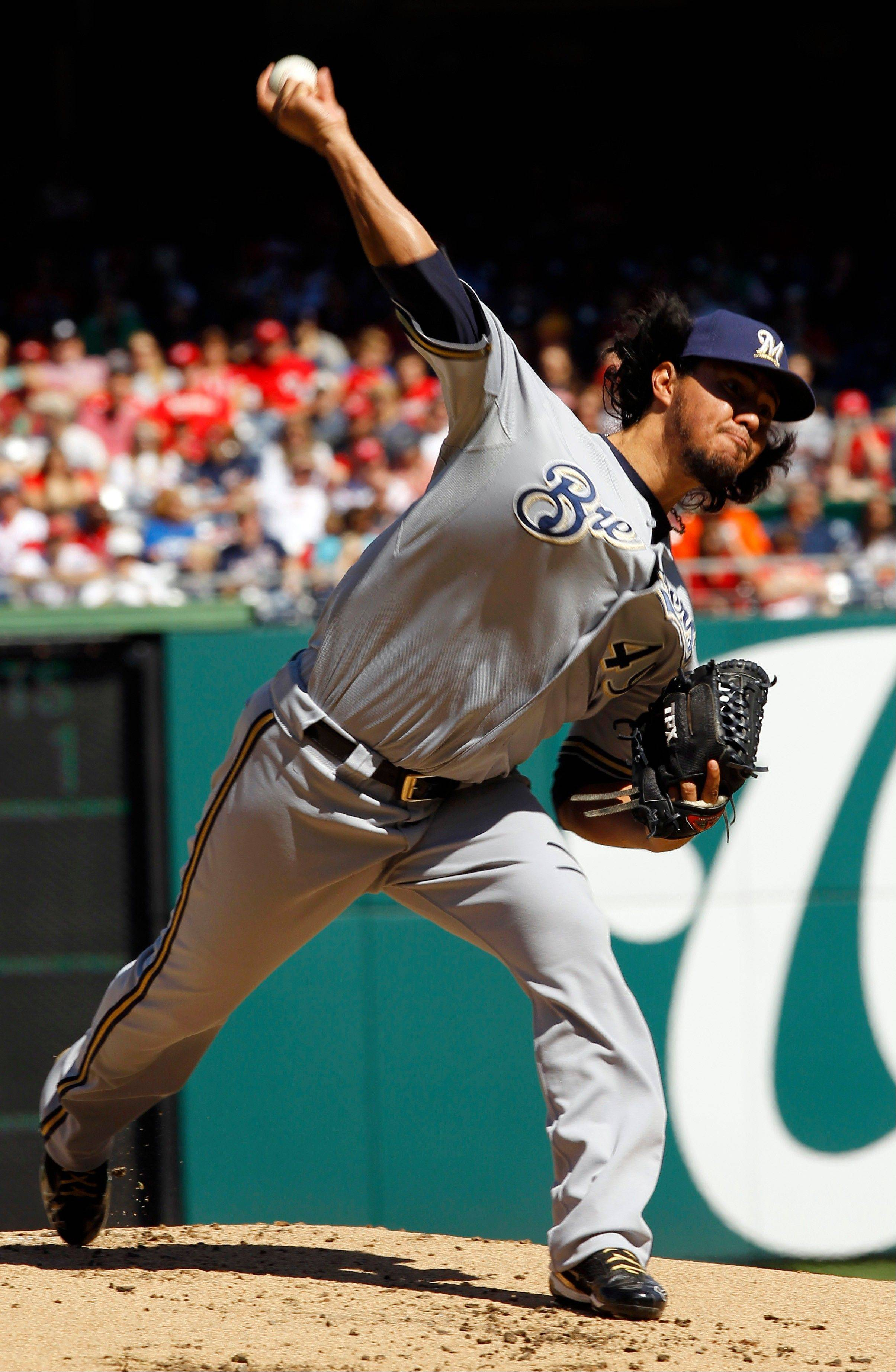 Milwaukee Brewers starting pitcher Yovani Gallardo went five innings Sunday, allowing two earned runs and six hits on the road against Washington. The Brewers have won Gallardo's last 11 starts.
