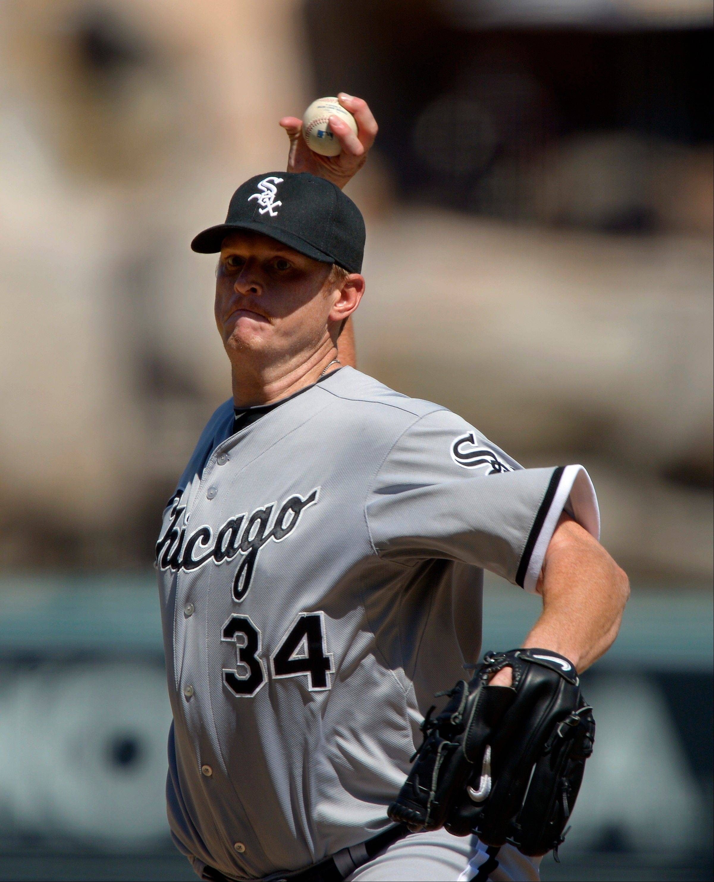 White Sox starting pitcher Gavin Floyd gave up four runs and seven hits Sunday in a loss to the Angels in Anaheim, Calif.