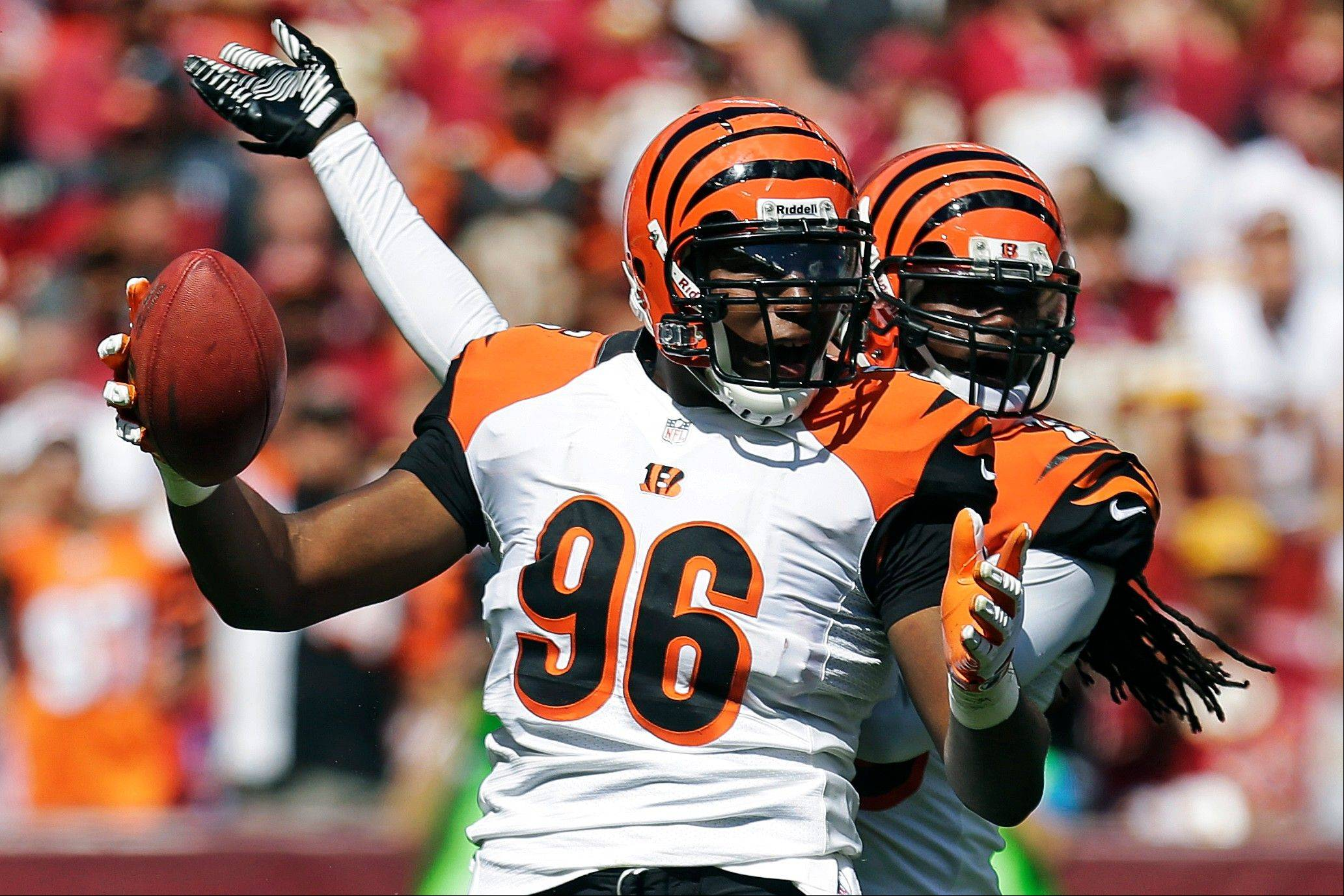 Cincinnati Bengals free safety Reggie Nelson celebrates forcing Washington Redskins quarterback Robert Griffin III to fumble during the first half Sunday in Landover, Md.