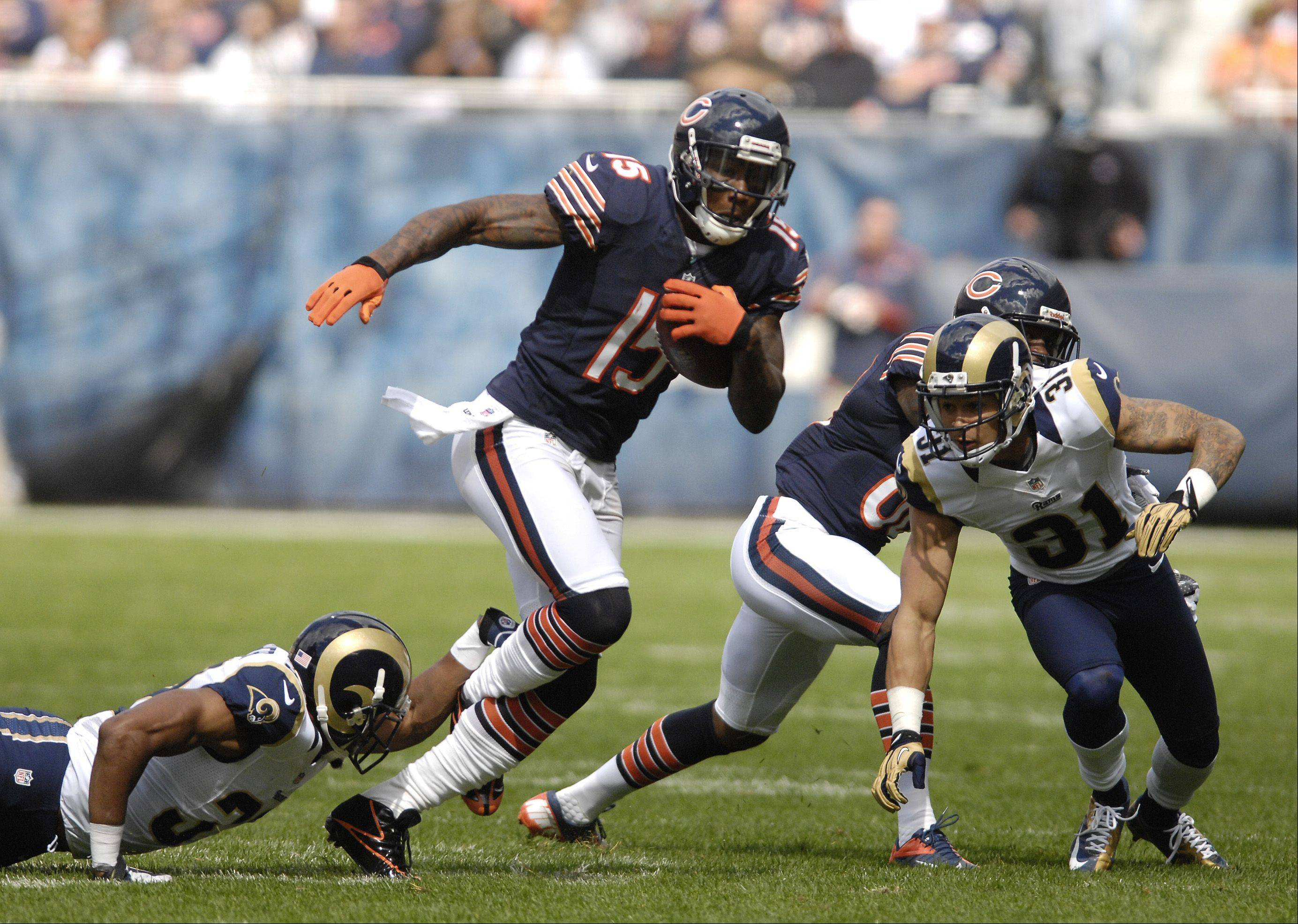 Chicago Bears wide receiver Brandon Marshall looks to gain some yards against the St. Louis Rams at Soldier Field in Chicago.