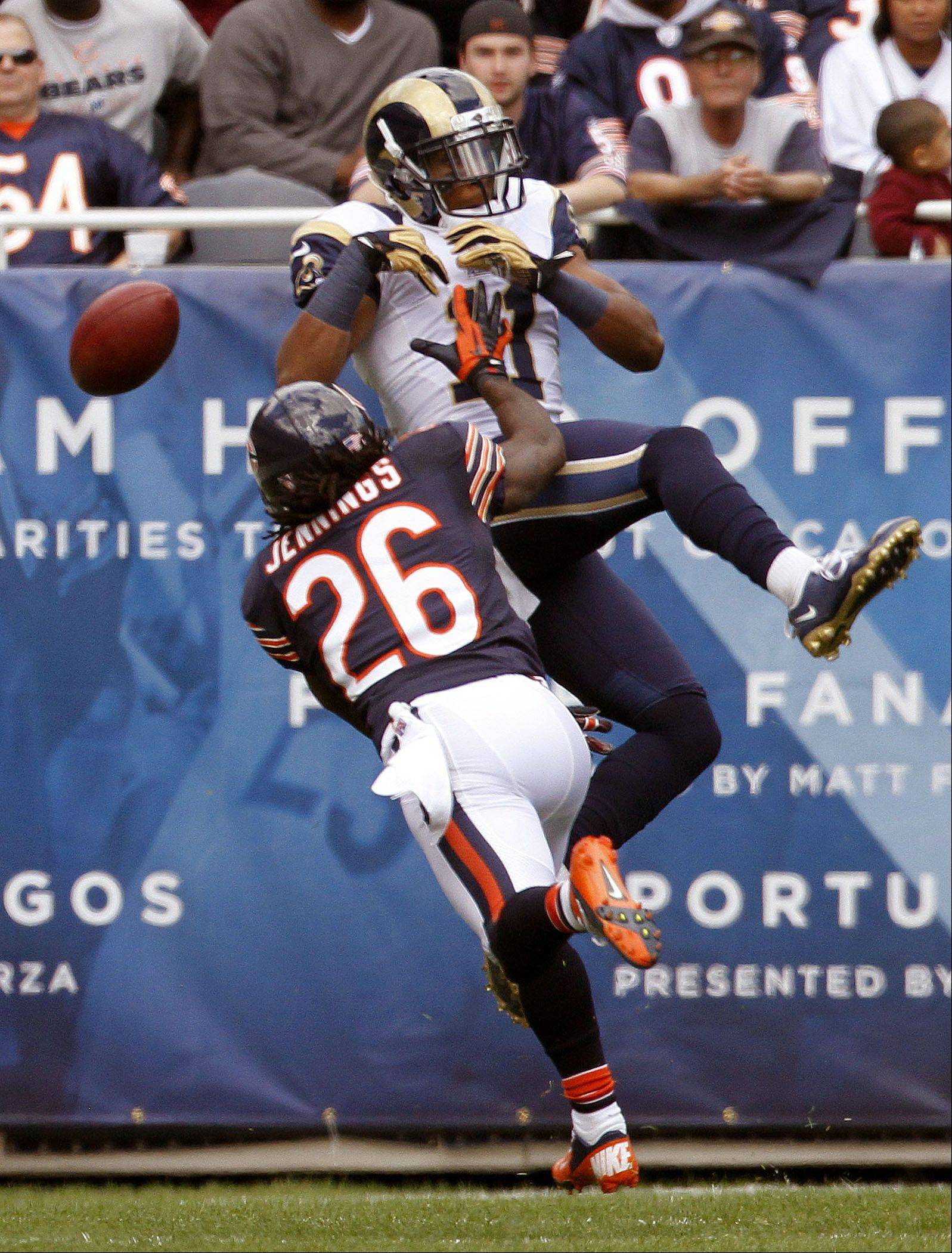 Chicago Bears cornerback Tim Jennings breaks up a possible touchdown catch by St. Louis Rams wide receiver Brandon Gibson during the Bears 23-6 win over the St. Louis Rams Sunday at Soldier Field in Chicago.