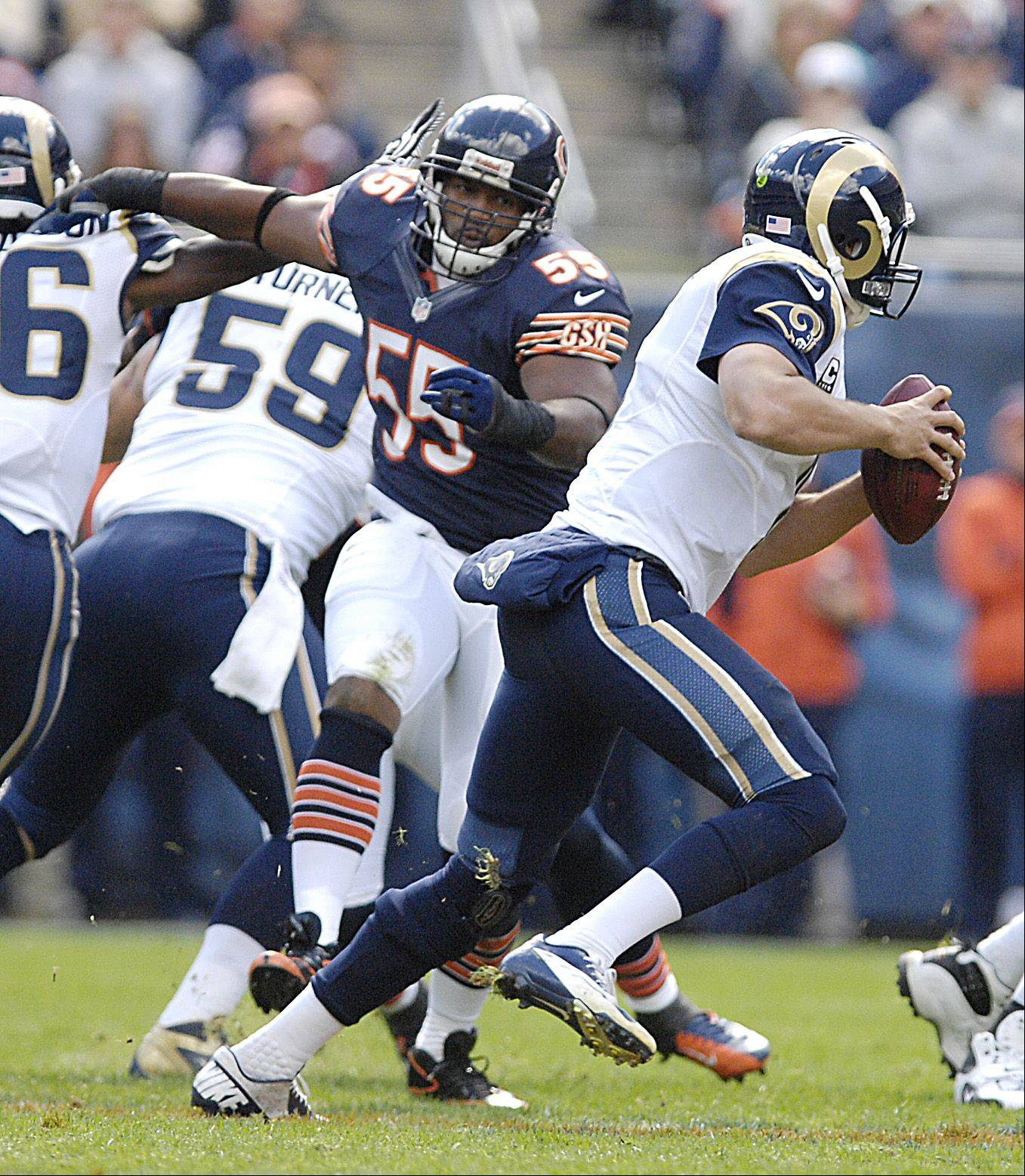 Chicago Bears outside linebacker Lance Briggs put pressure on St. Louis Rams quarterback Sam Bradford during the Bears win at Soldier Field in Chicago.