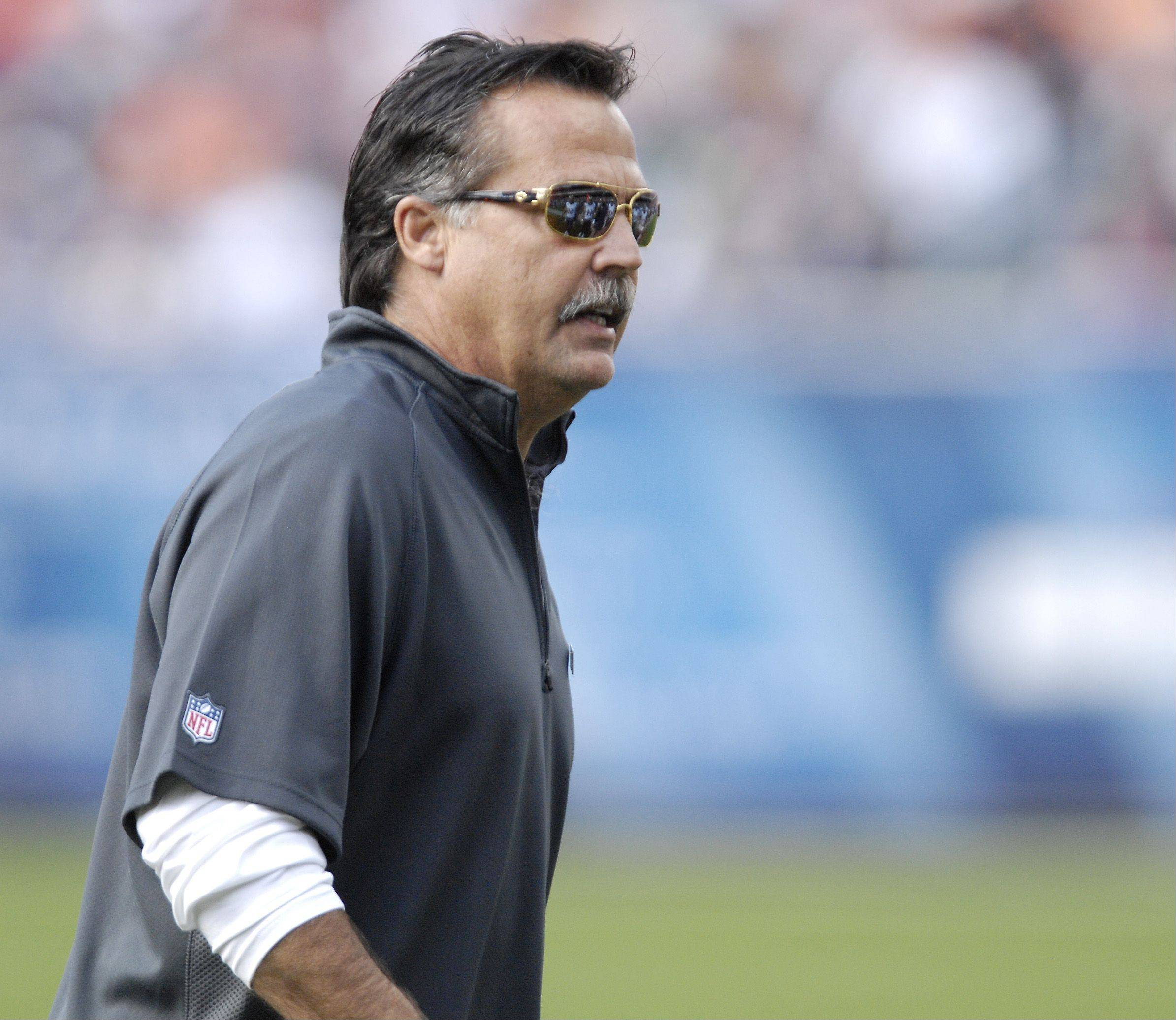 St. Louis Rams Head Coach Jeff Fisher during a game against the Chicago Bears at Soldier Field in Chicago.