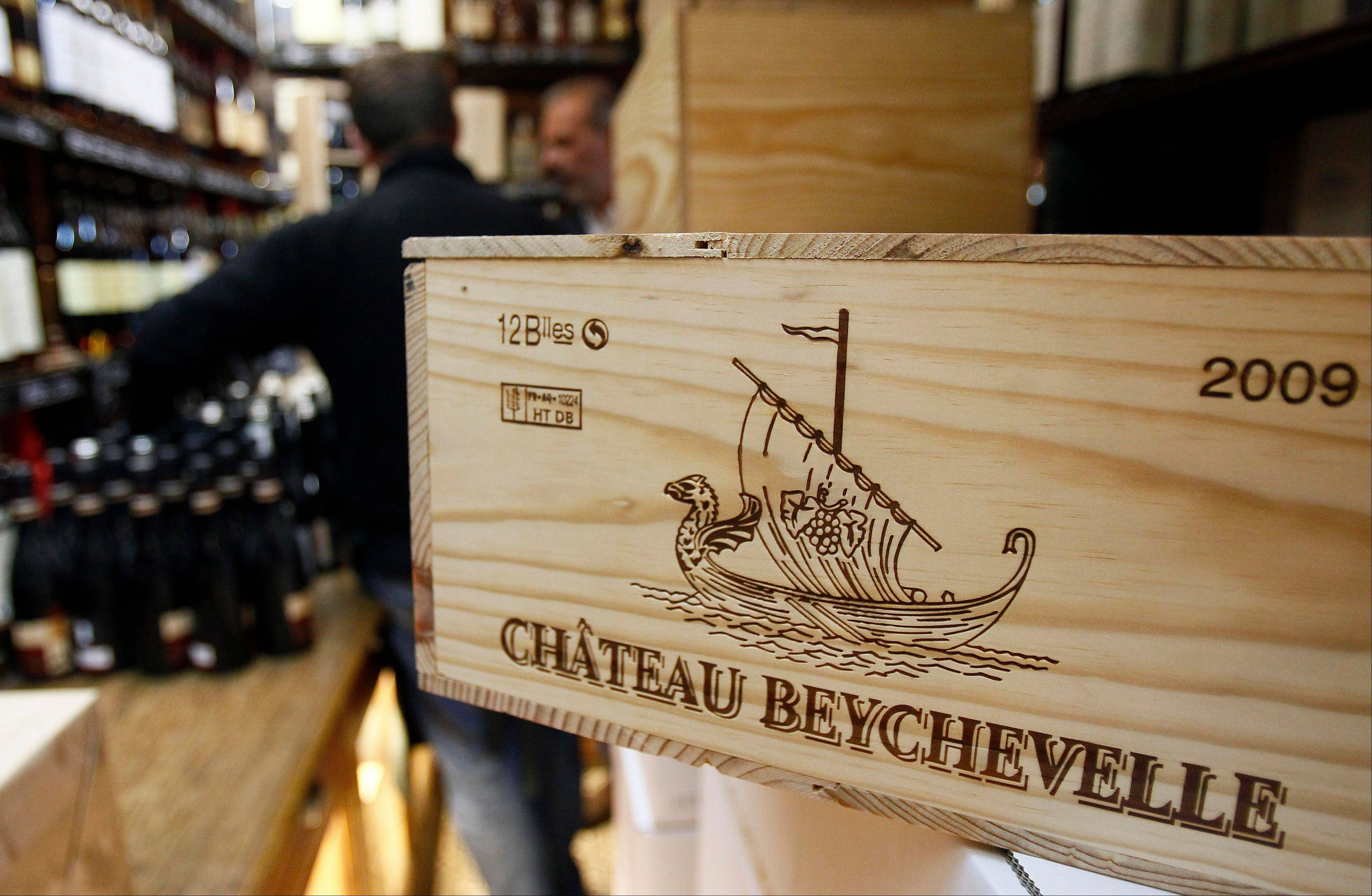 "A 12-bottle wooden box of Bordeaux wine from Chateau Beychevelle i seen in a wine shop in Paris. The United States wants to sell some of its wines in the European Union with a ""chateau"" label."