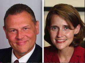 John Lawson, left, opposes state Rep. Michelle Mussman in the 56th State House District race.