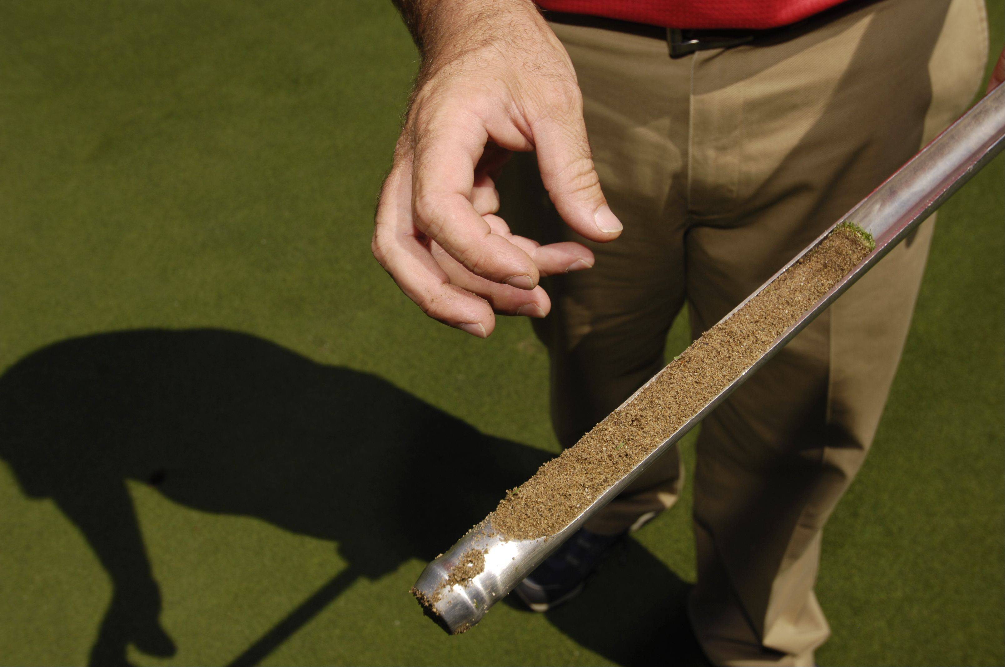 Curtis Tyrrell, director of golf course operations at Medinah Country Club, checks out a core sample from one of the greens.