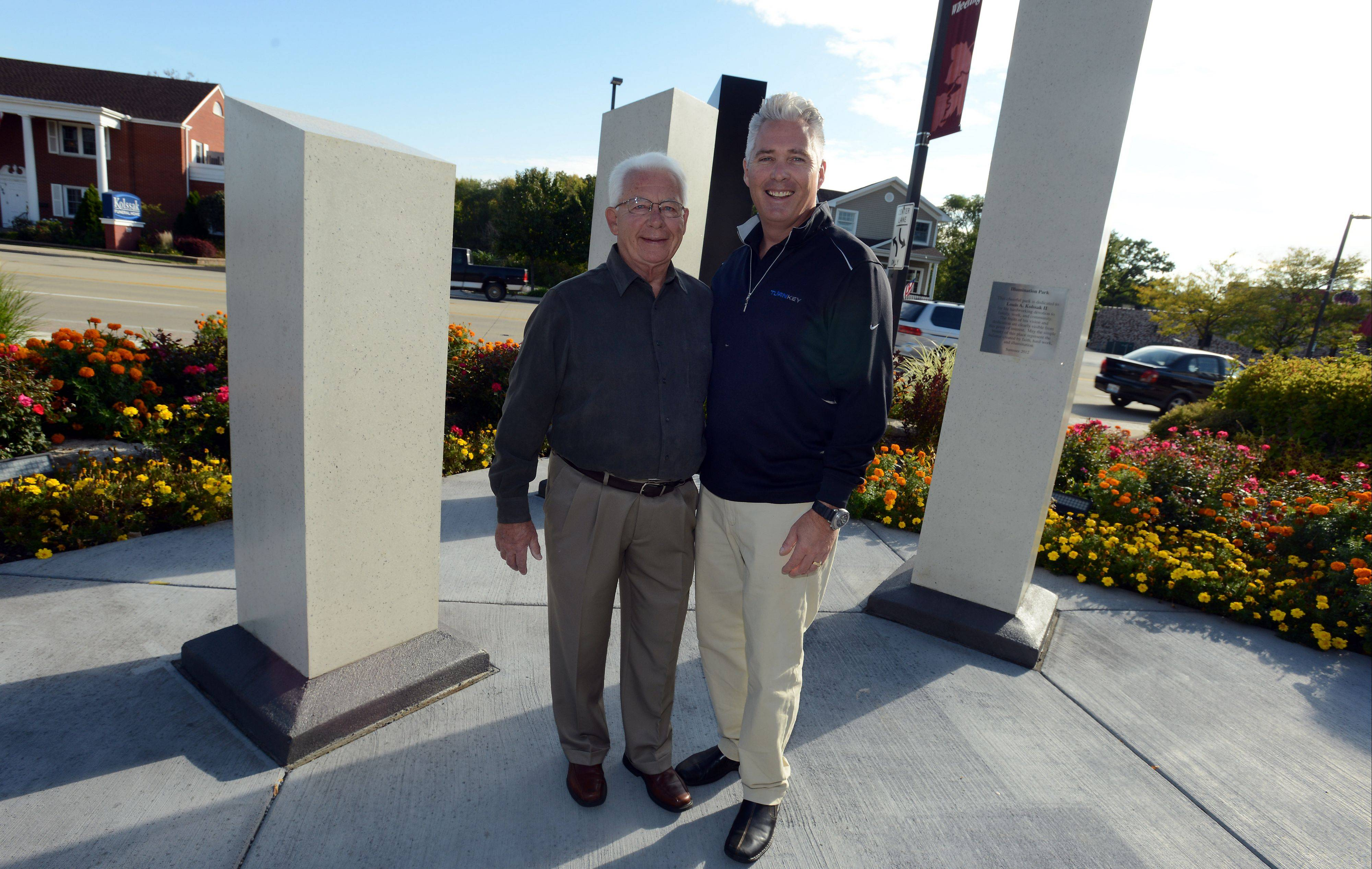 David Kolssak, right, built Illumination Park with the help of Wheeling tax increment financing funds and dedicated it to his father, Louis Kolssak II.