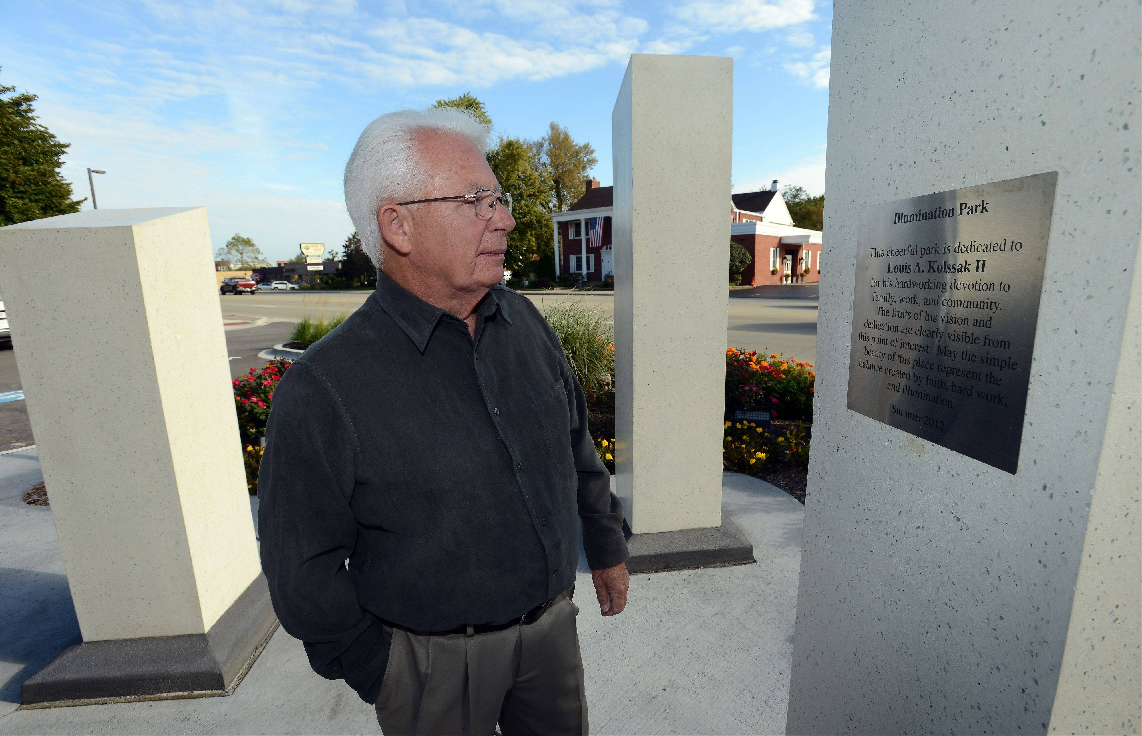 Louis Kolssak praises the park his son built, but he was surprised when it was dedicated to him.