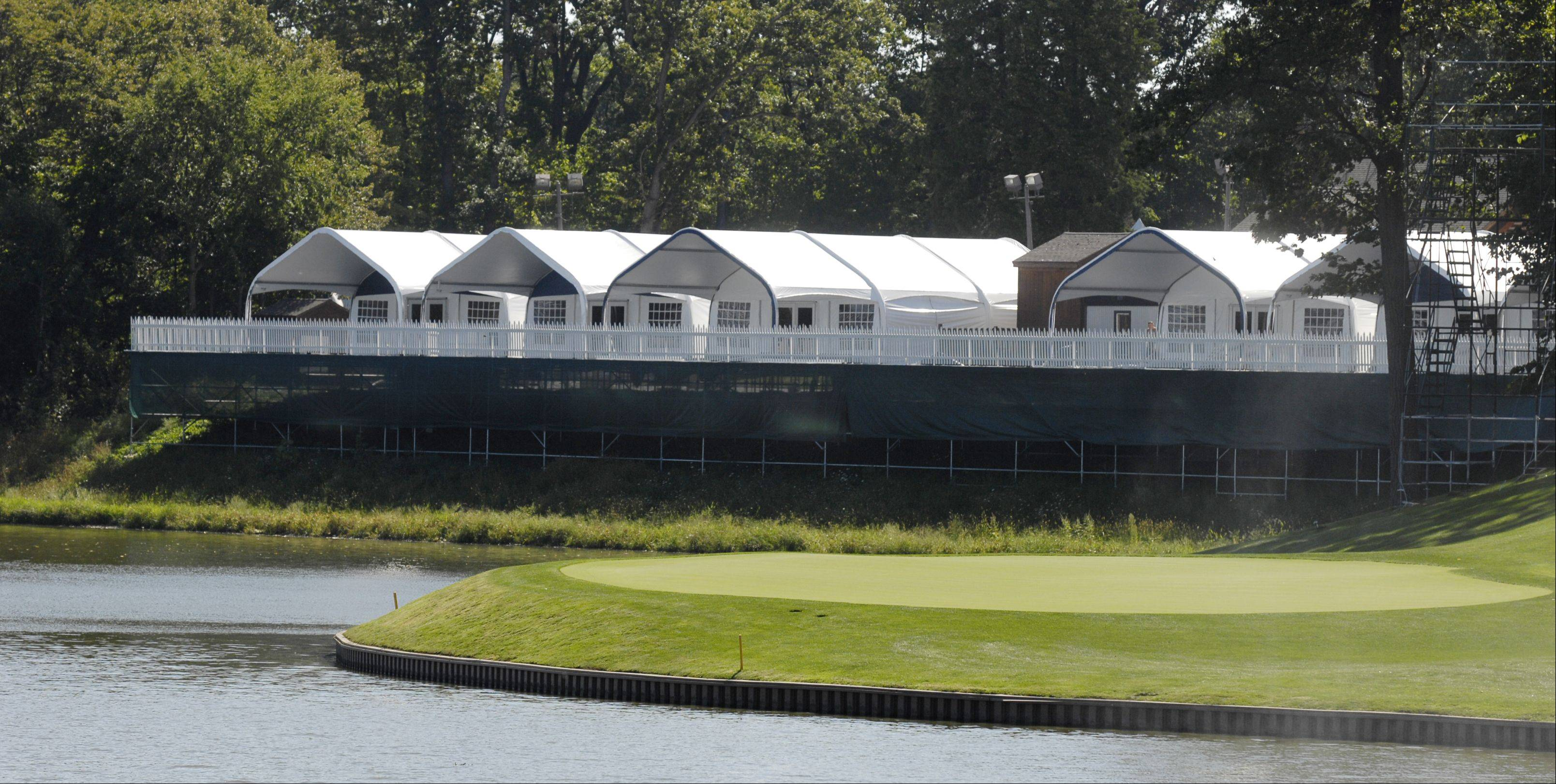 Ryder Cup corporate chalets at Medinah range in size from 50- to 300-guest tents and overlook the course and in some cases the lake.