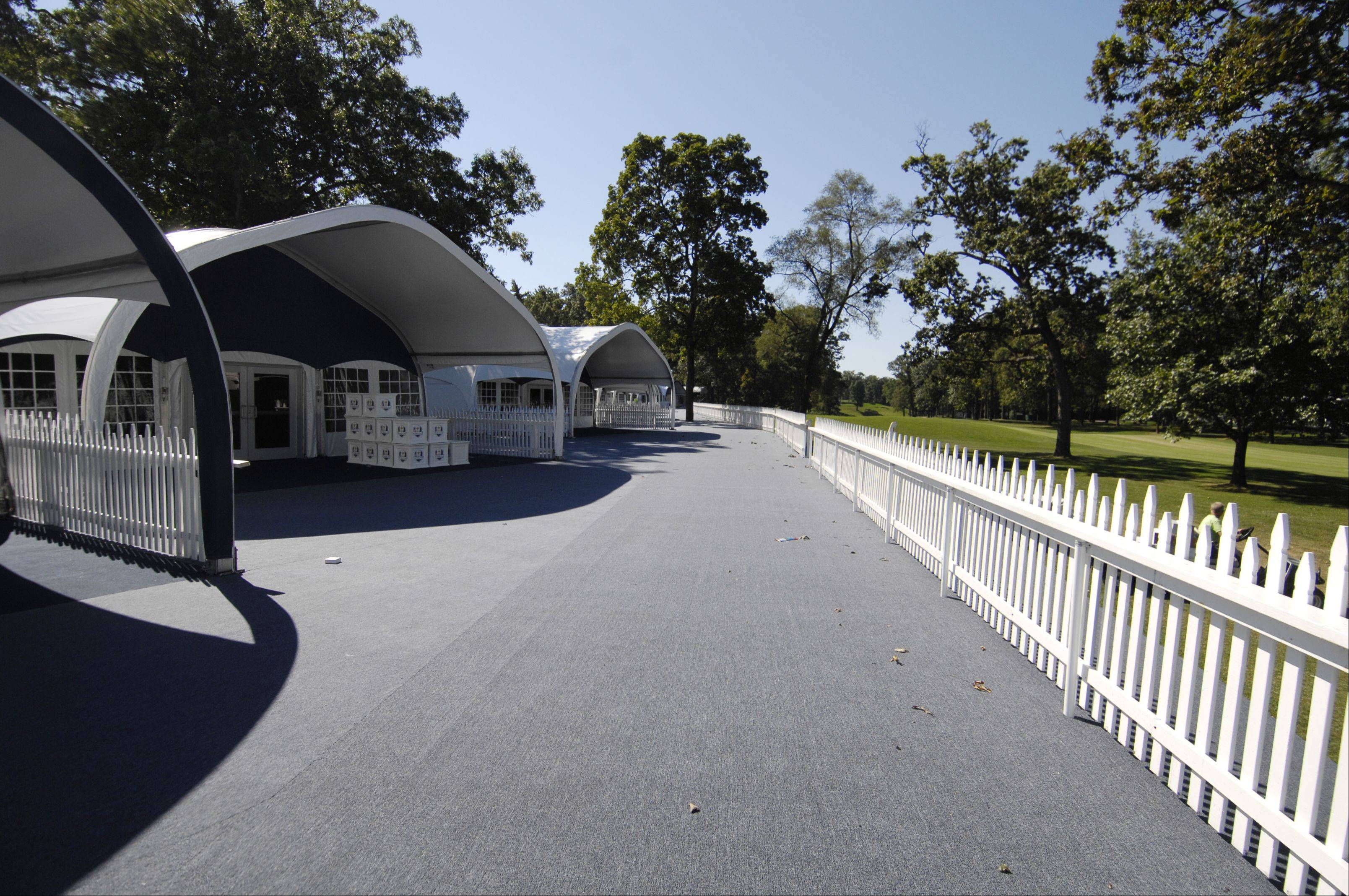THE DECK: The chalets at Medinah open up to carpeted decks.