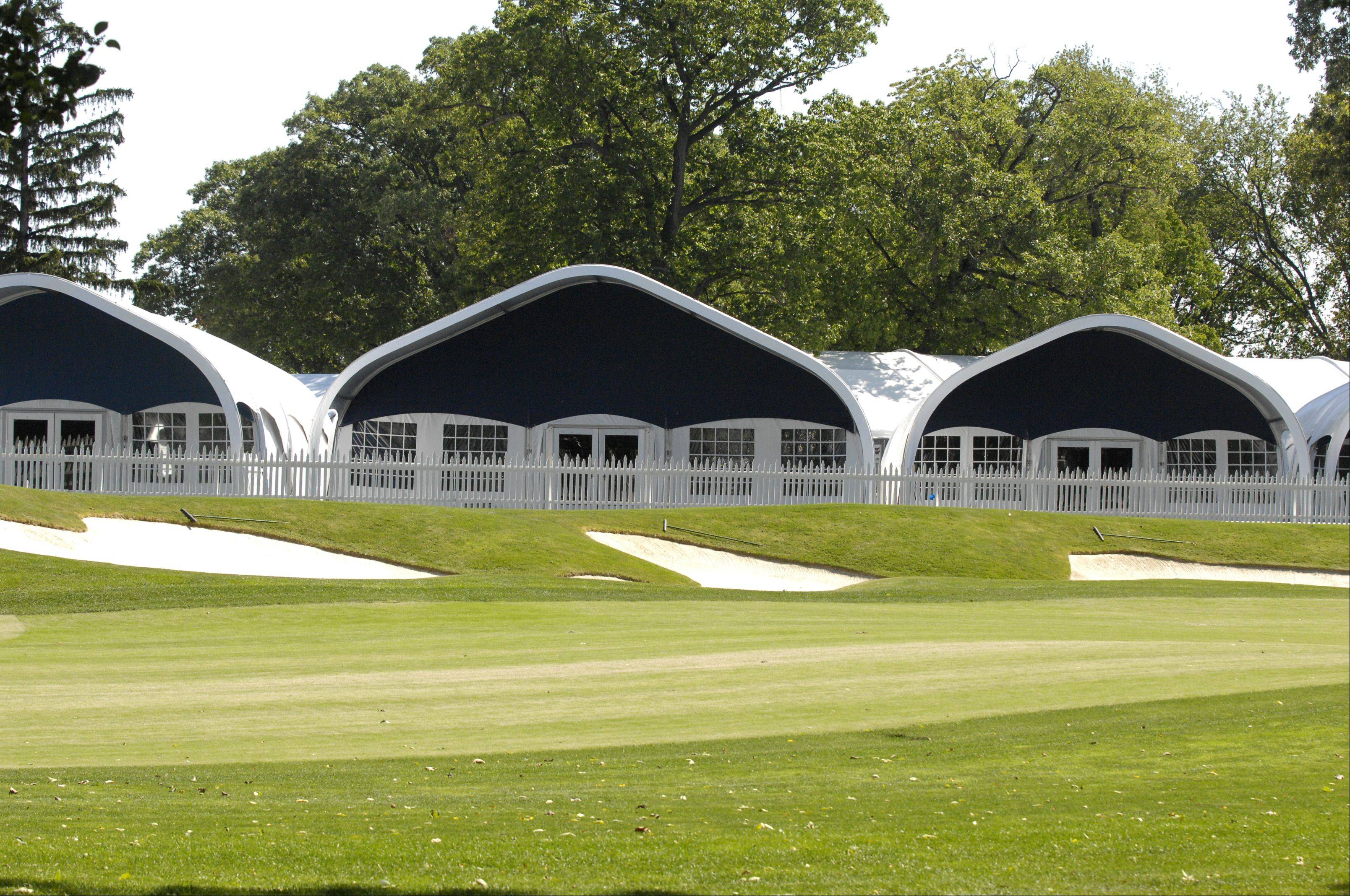 Ryder Cup corporate chalets at Medinah range in size from 50- to 300-guest tents and overlook the golf course.