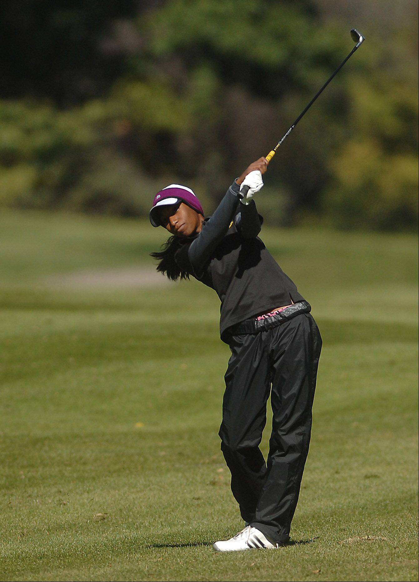 Matea Valley's Niquole Mangal hits from the fairway during Monday's Upstate Eight Conference girls golf tournament at St. Andrews Golf & Country Club in West Chicago.