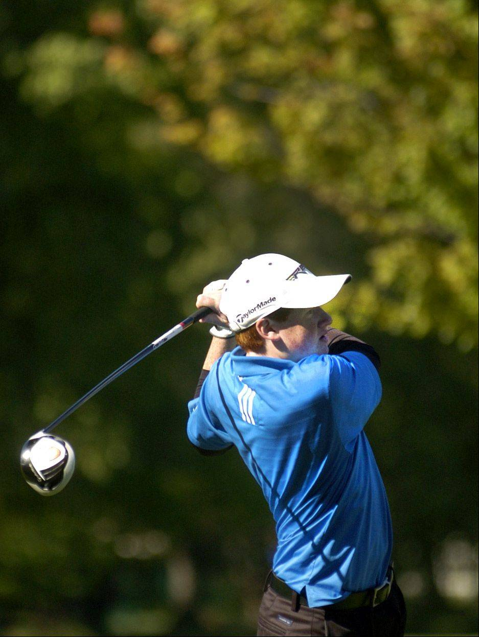John D'Amico of Hoffman tees off on No. 3 during the Mid-Suburban League meet at Arlington Lakes.