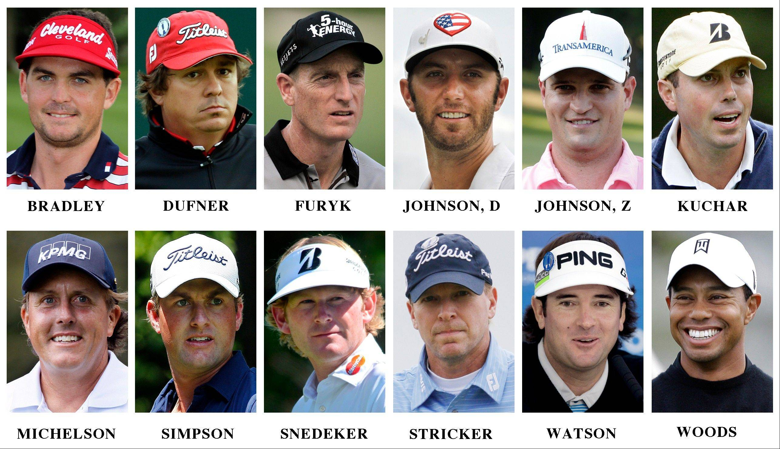 Here is the United States Ryder Cup golf team, top row from left: Keegan Bradley, Jason Dufner, Jim Furyk, Dustin Johnson, Zach Johnson and Matt Kuchar. Bottom row, from left: Phil Mickelson, Webb Simpson, Brandt Snedeker, Steve Stricker, Bubba Watson and Tiger Woods.