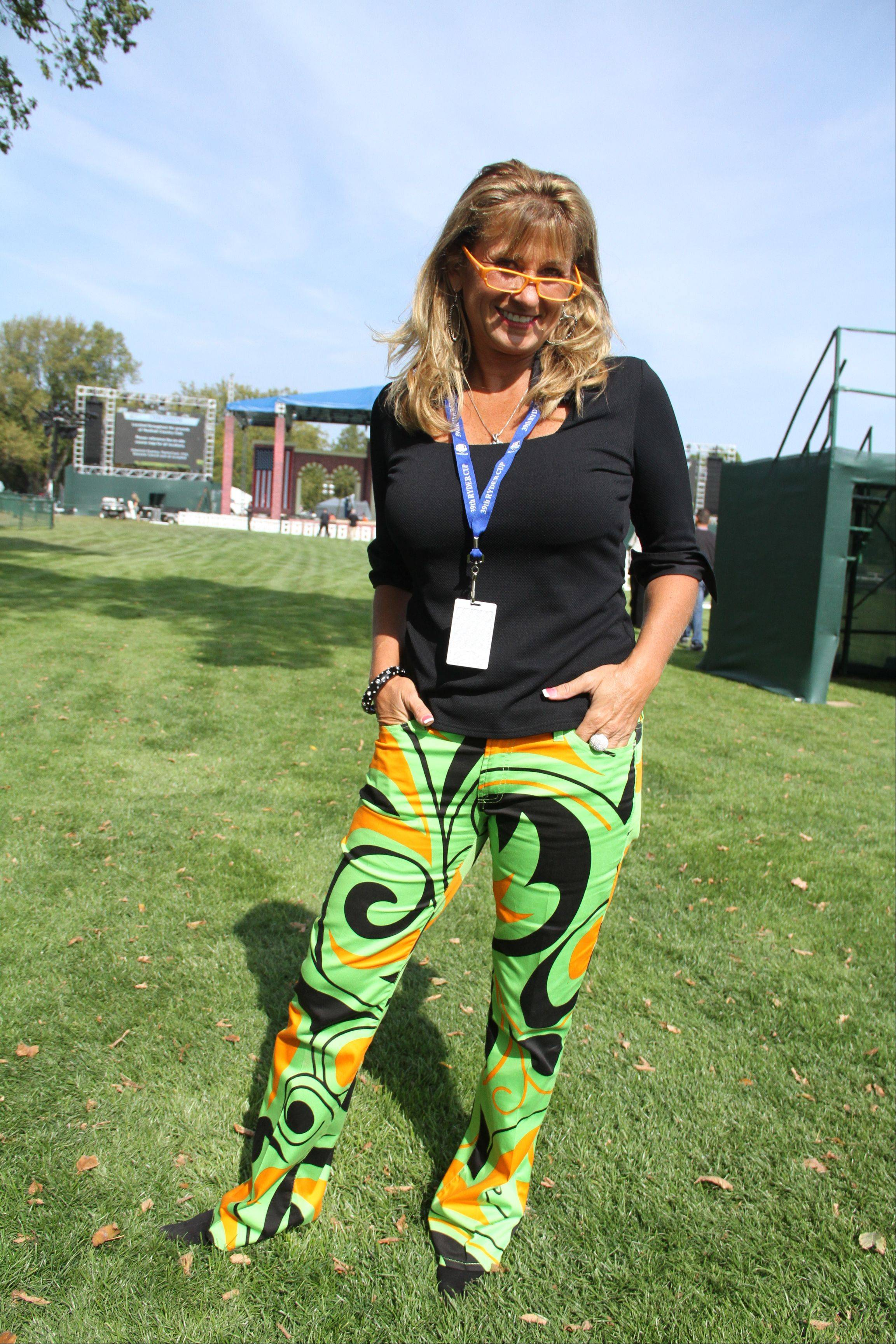"Wendy Pellegrino, of Downers Grove, anchor of Comcast's Golf Chicago TV, sported colorful Loudmouth brand pants, similar to those worn by actor Bill Murray Tuesday. Pellegrino, who also wore orange-framed eyeglasses, said she owns six pairs of the bright patterned pants and plans to wear a different one every day of the Ryder Cup. ""You have no idea how much I've been stopped. People want their picture taken with me,"" she said. ""They'll say, 'Oh my God, you look awesome!'"""