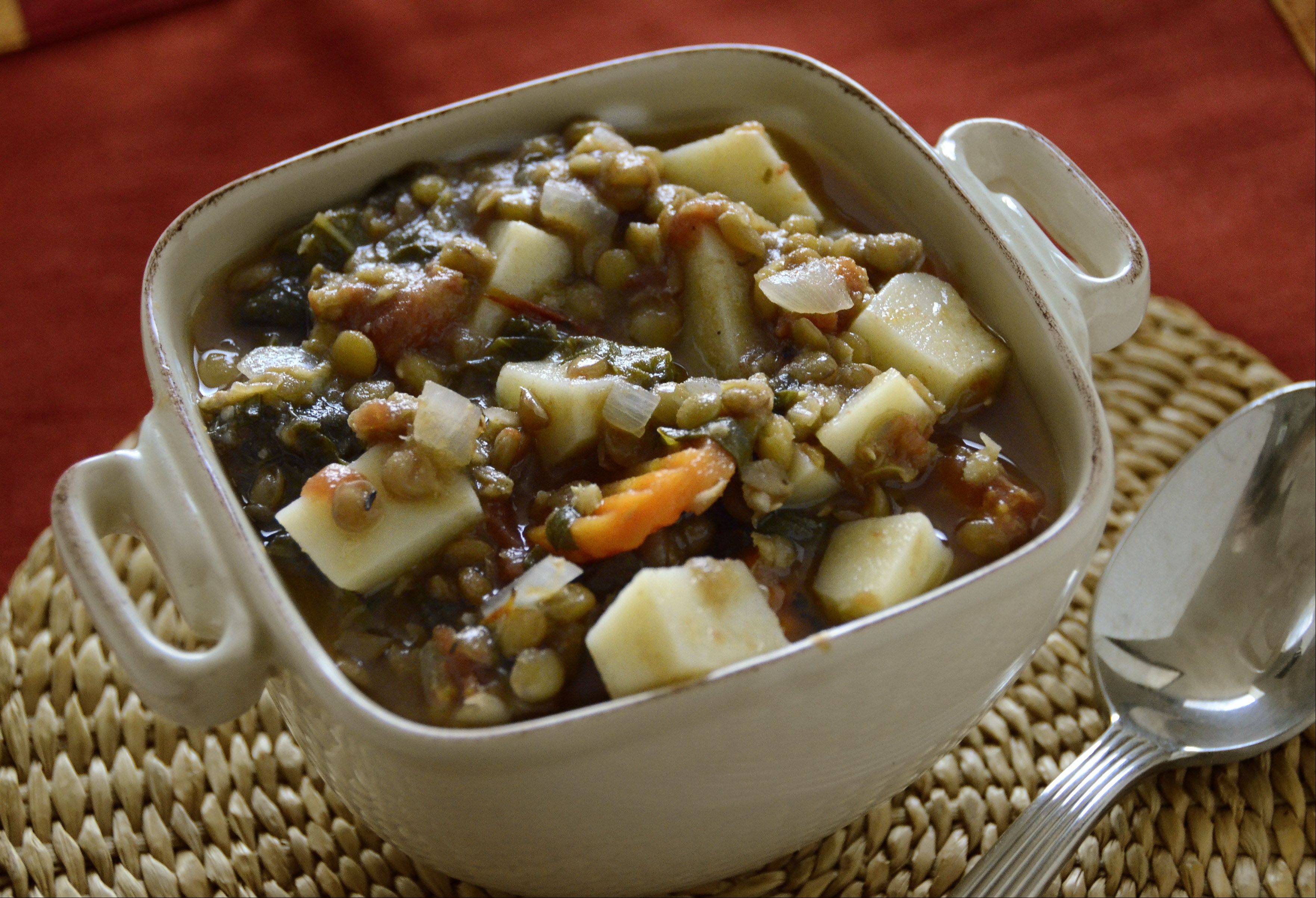 Use the freshest Swiss chard you can find and you'll be pleased with the flavor of this hearty lentil soup.