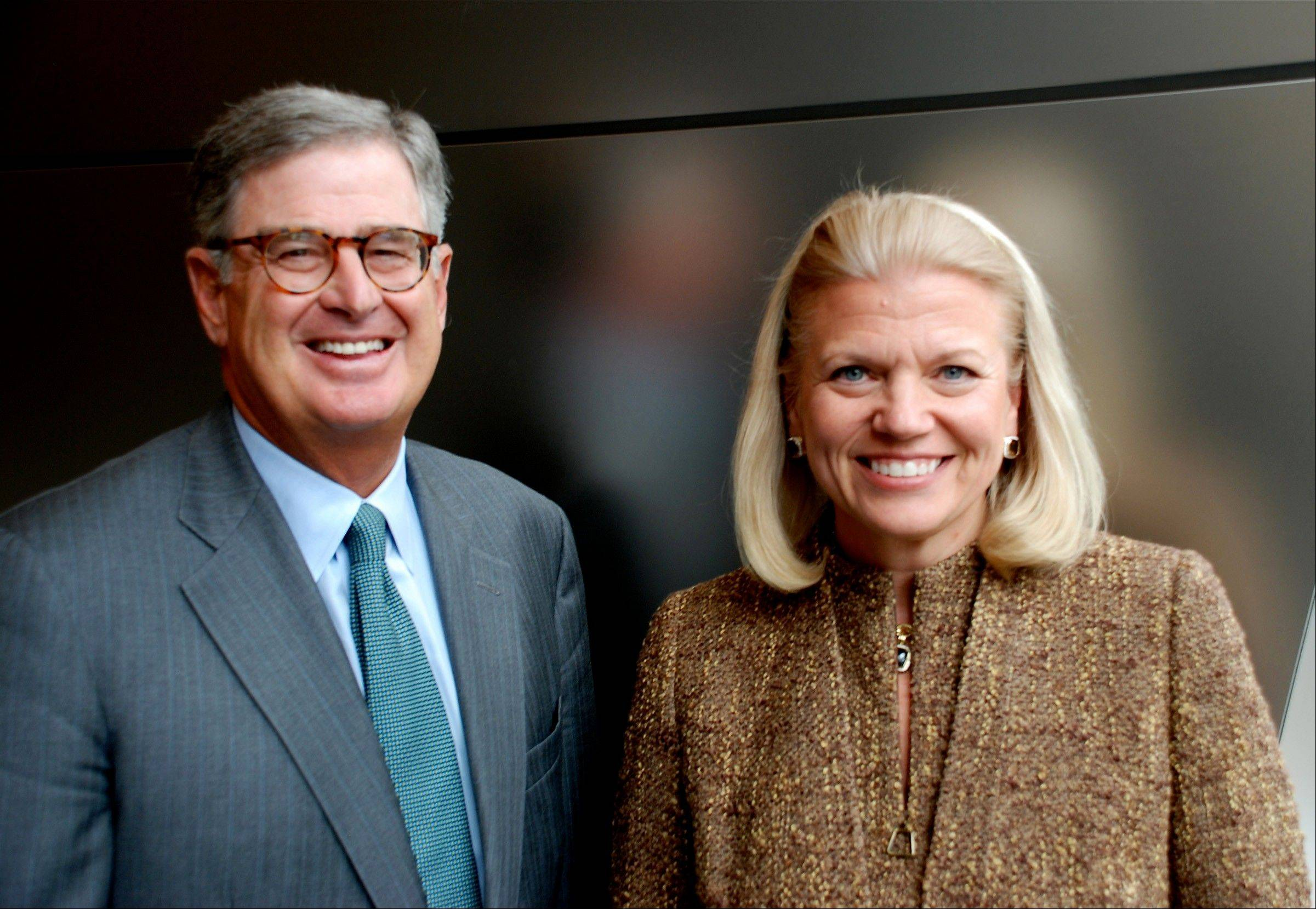 ASSOCIATED PRESS IBM CEO Ginni Rometty, right, will succeed former CEO Sam Palmisano, left, as chairman of the board, it was announced Tuesday.