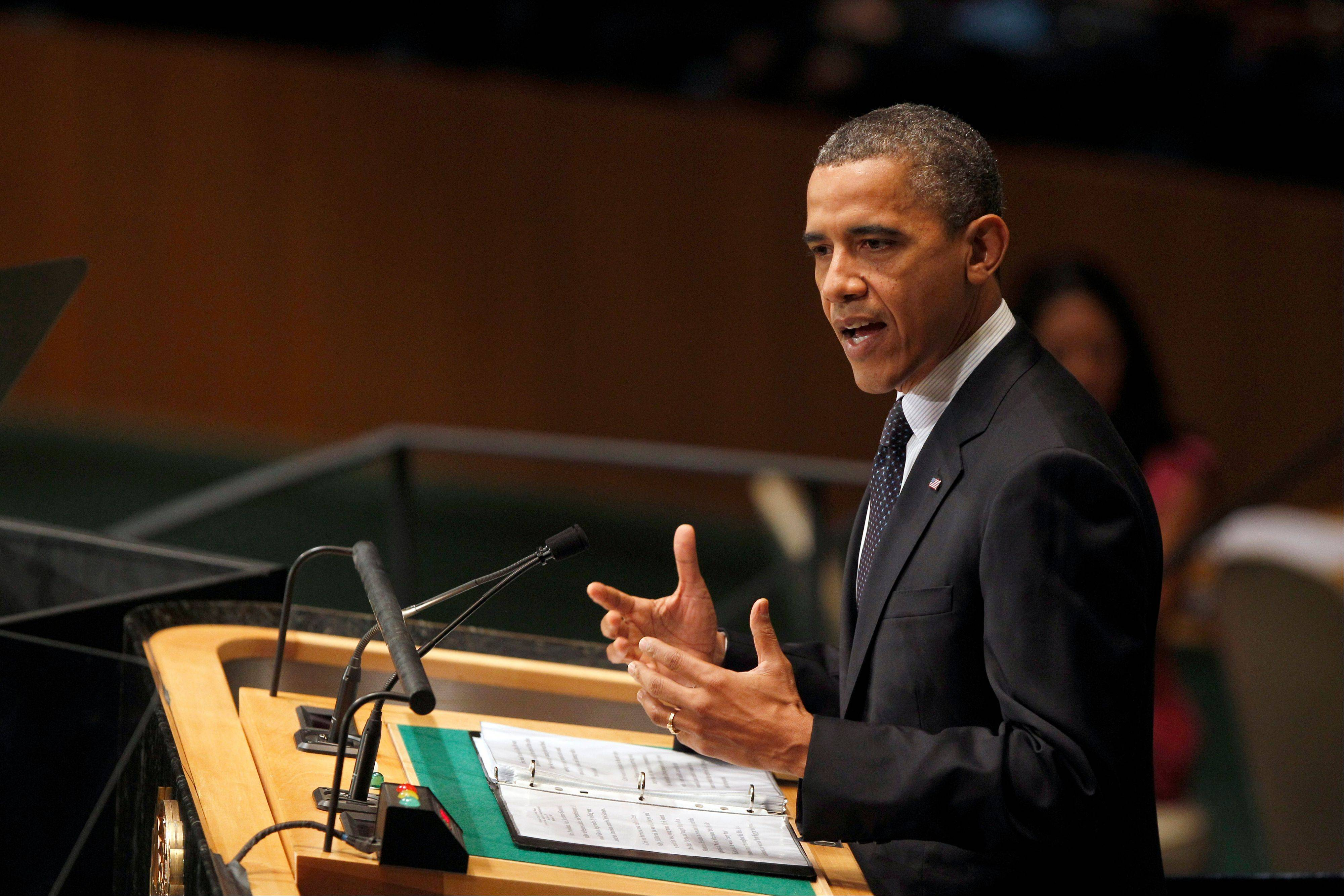 President Barack Obama addresses the 67th session of the United Nations General Assembly at U.N. headquarters, Tuesday, Sept. 25, 2012.