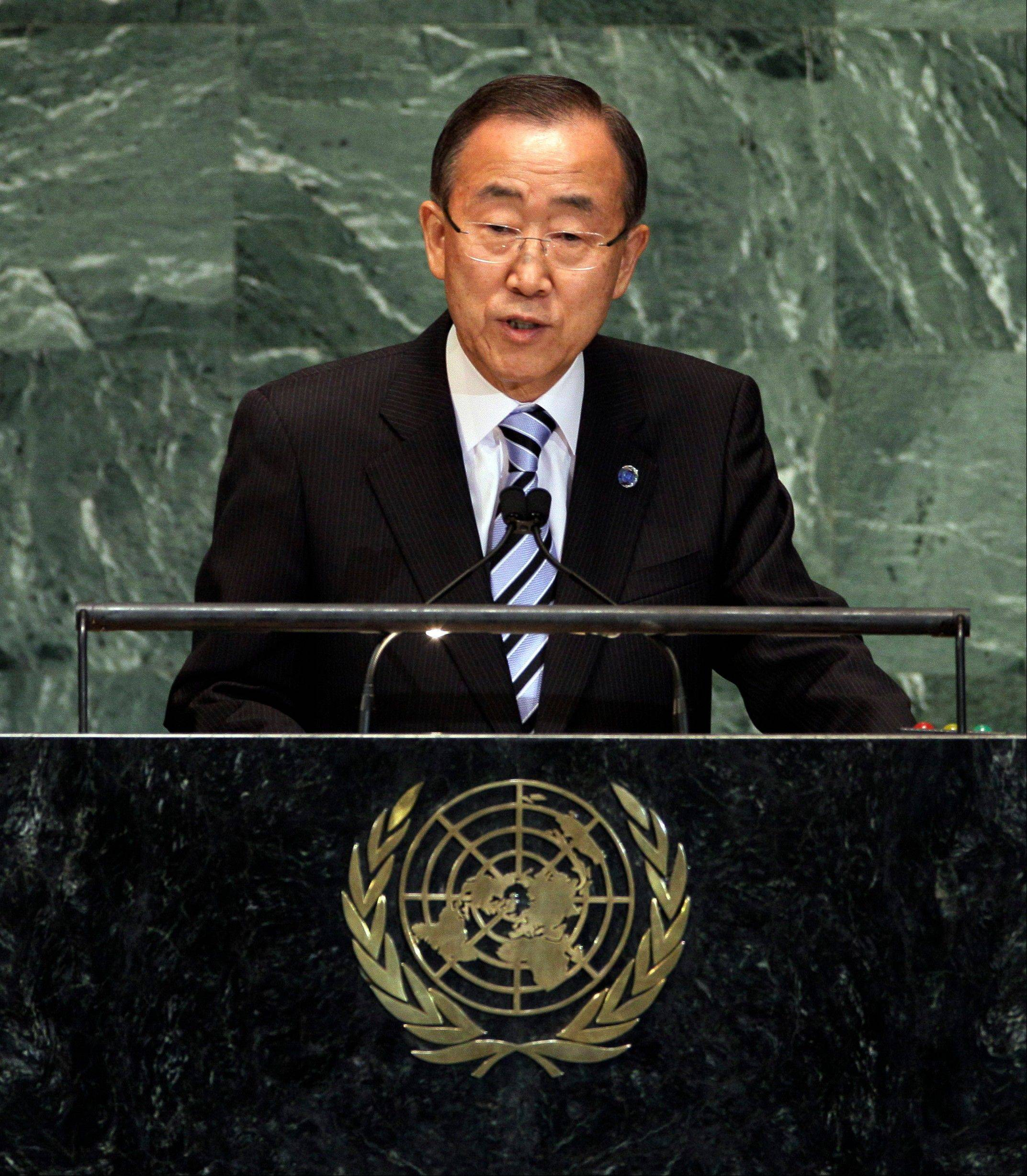 United Nations Secretary General Ban Ki-moon addresses the 67th session of the General Assembly, Tuesday, Sept. 25, 2012 at U.N. headquarters.