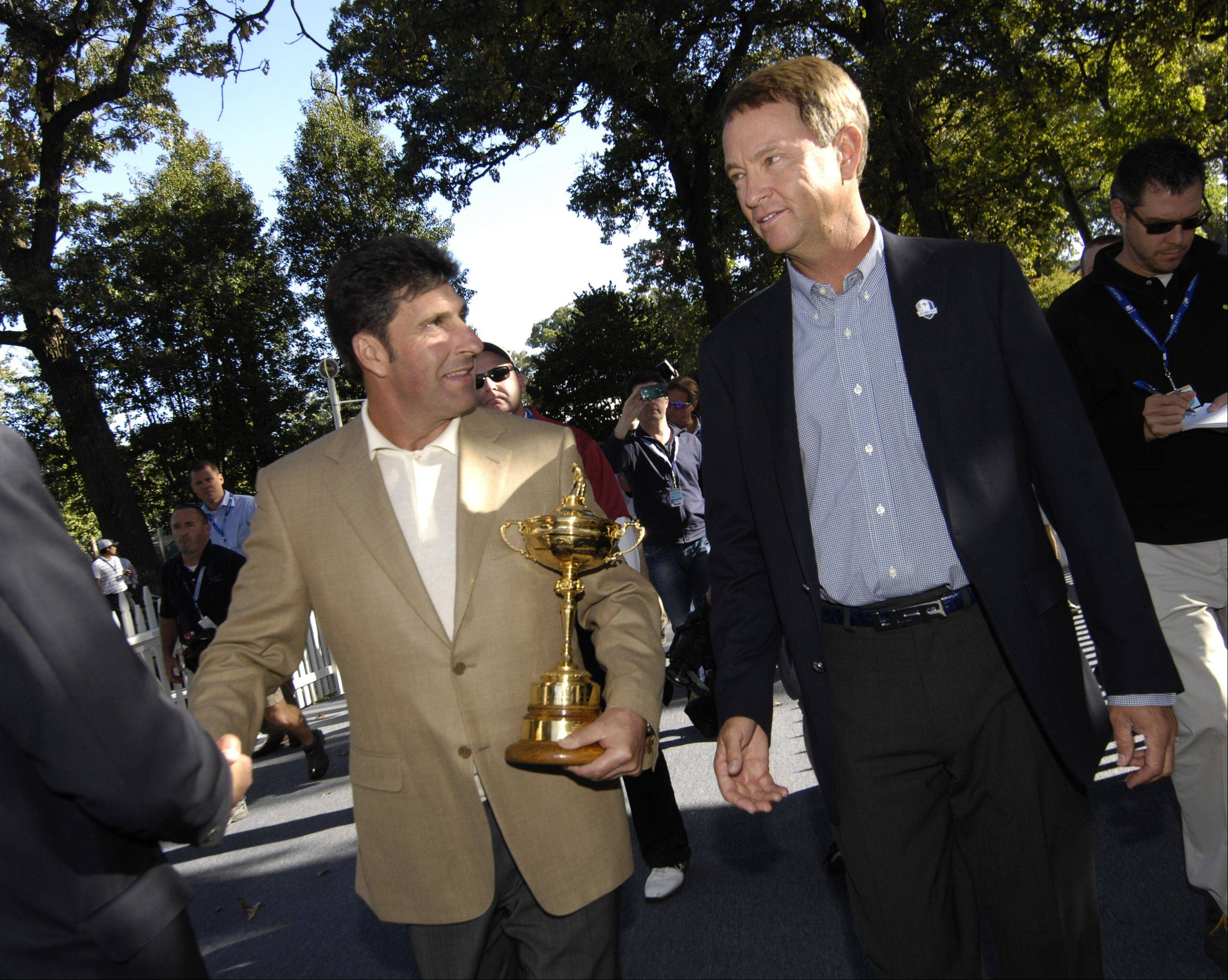 Ryder Cup captains Jose Maria Olazabal, left, and Davis Love III arrived at Medinah County Club on Monday. Their moves throughout the week will be watched closely.