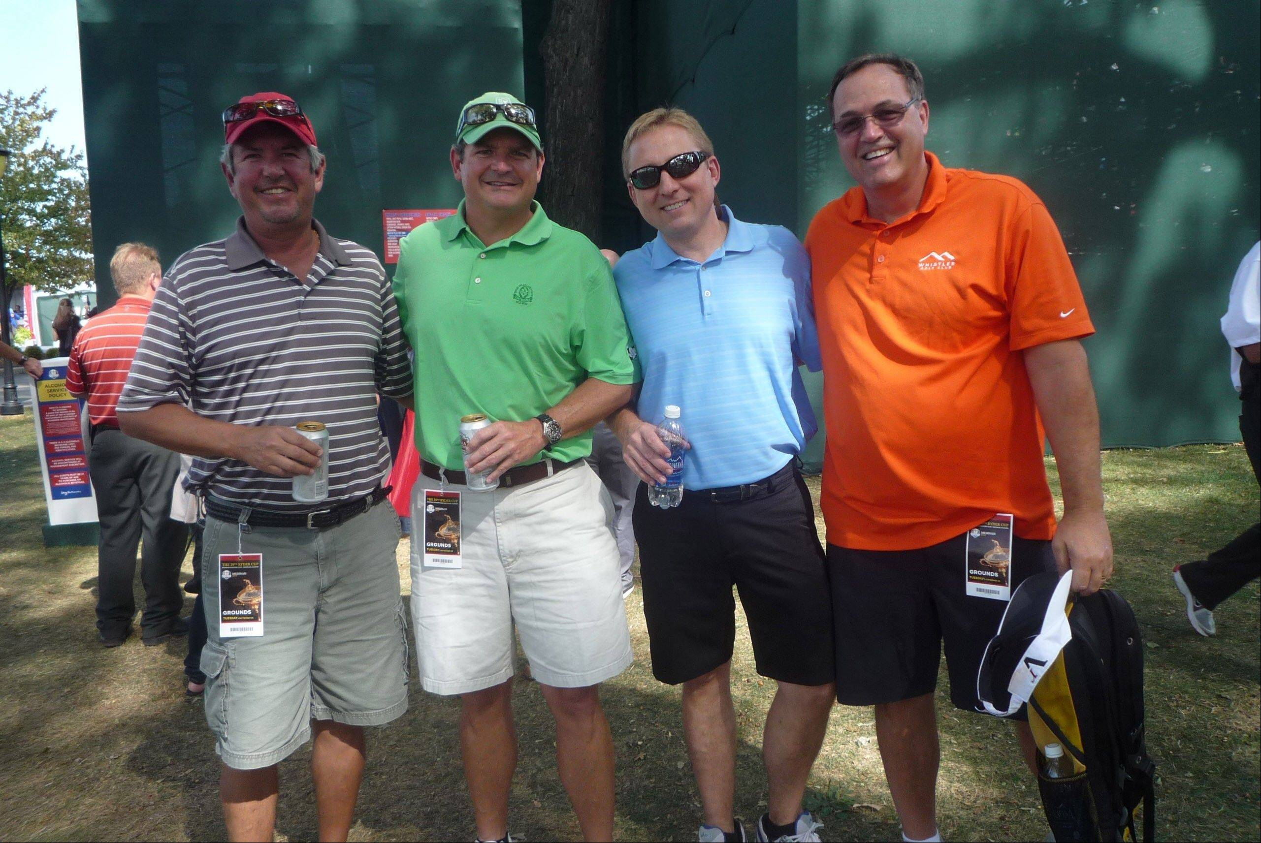 "Sporting the ""regular guy"" suburban golfing outfits are, left to right, Jeffrey Thompson of Orlando, Fla., (""I've been traveling all week and these are the only clean clothes I have""); Curt Thompson of Winnetka (It's just full color coordination""); Robert Rossi of Winnetka (""It's clean and hopefully matching"") and Rick Adler of Winnetka (""It was the first thing I grabbed."")."
