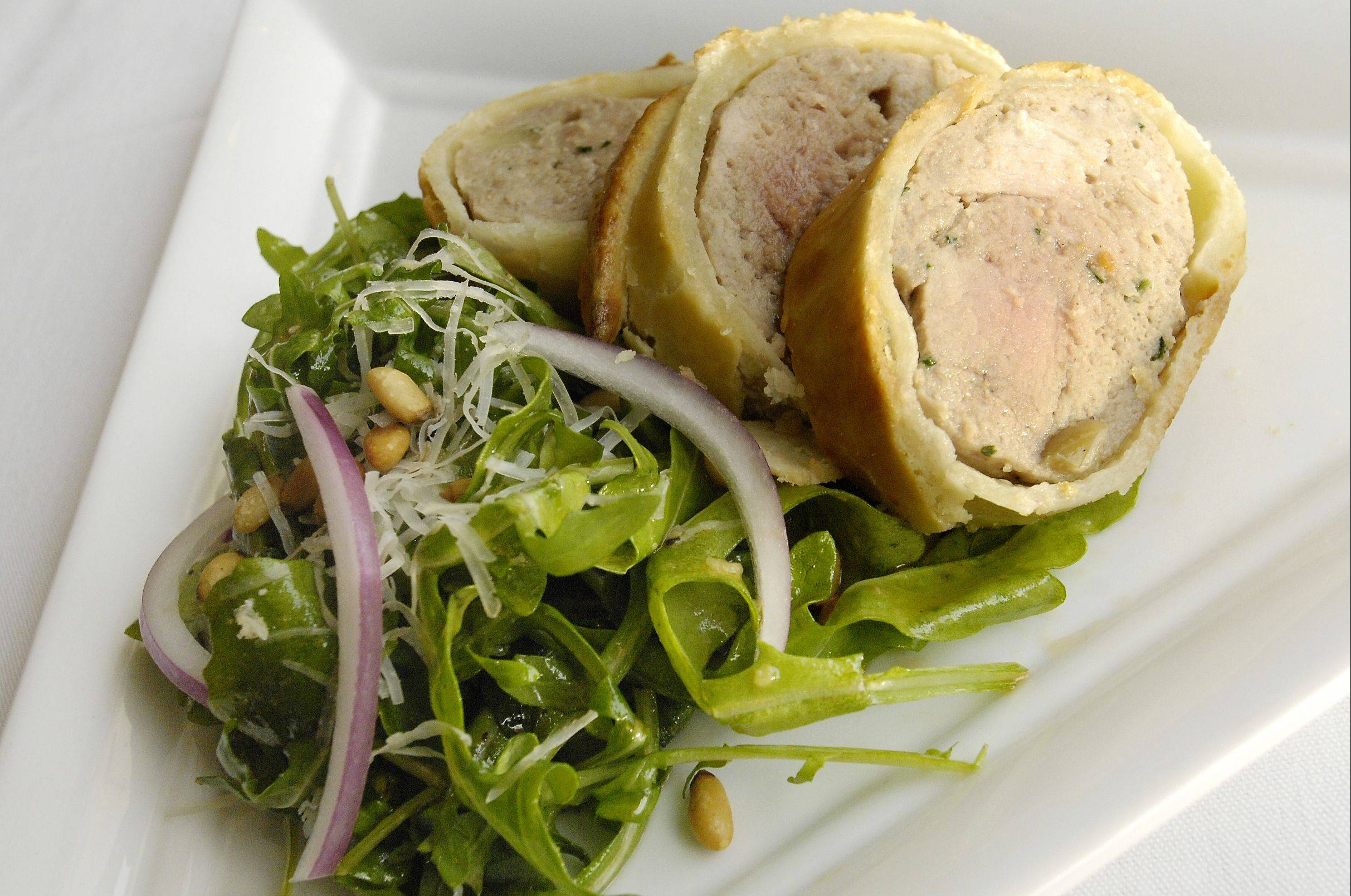 The European Ryder Cup team will be dining on Pork and Apple Sausage en Croute and Rocket Salad, above, that Medinah Country Club Executive Chef Bryan Panico created for the tournament.