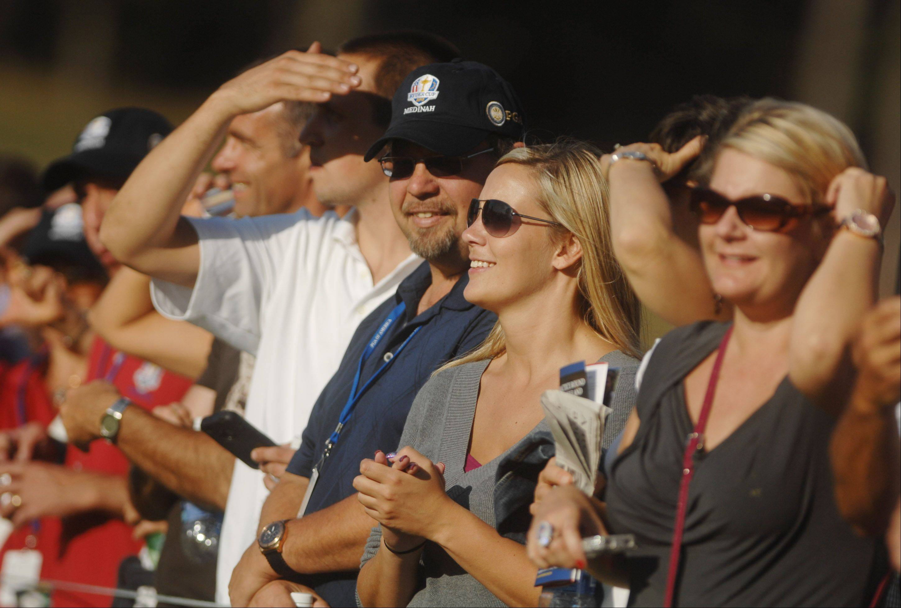 A lot of fans lined the galleries to watch their favorite celebrities take part in the Celebrity Scramble Exhibition Tuesday at the 39th Ryder Cup in Medinah.