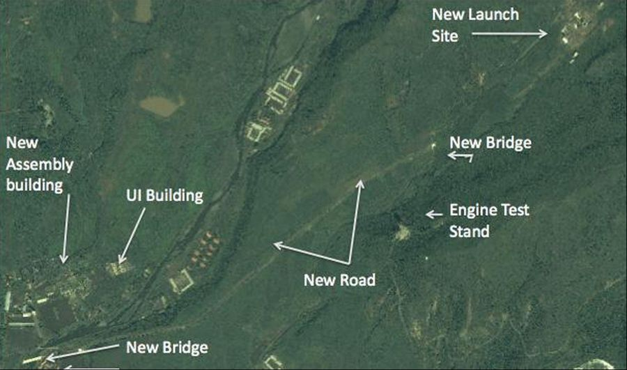 In this satellite image, a structure which an analyst says is a unfinished rocket launch site, top right, and other major new facilities at the Tonghae launch complex are seen near the village of Musudan-ri on the northeast coast of North Korea.