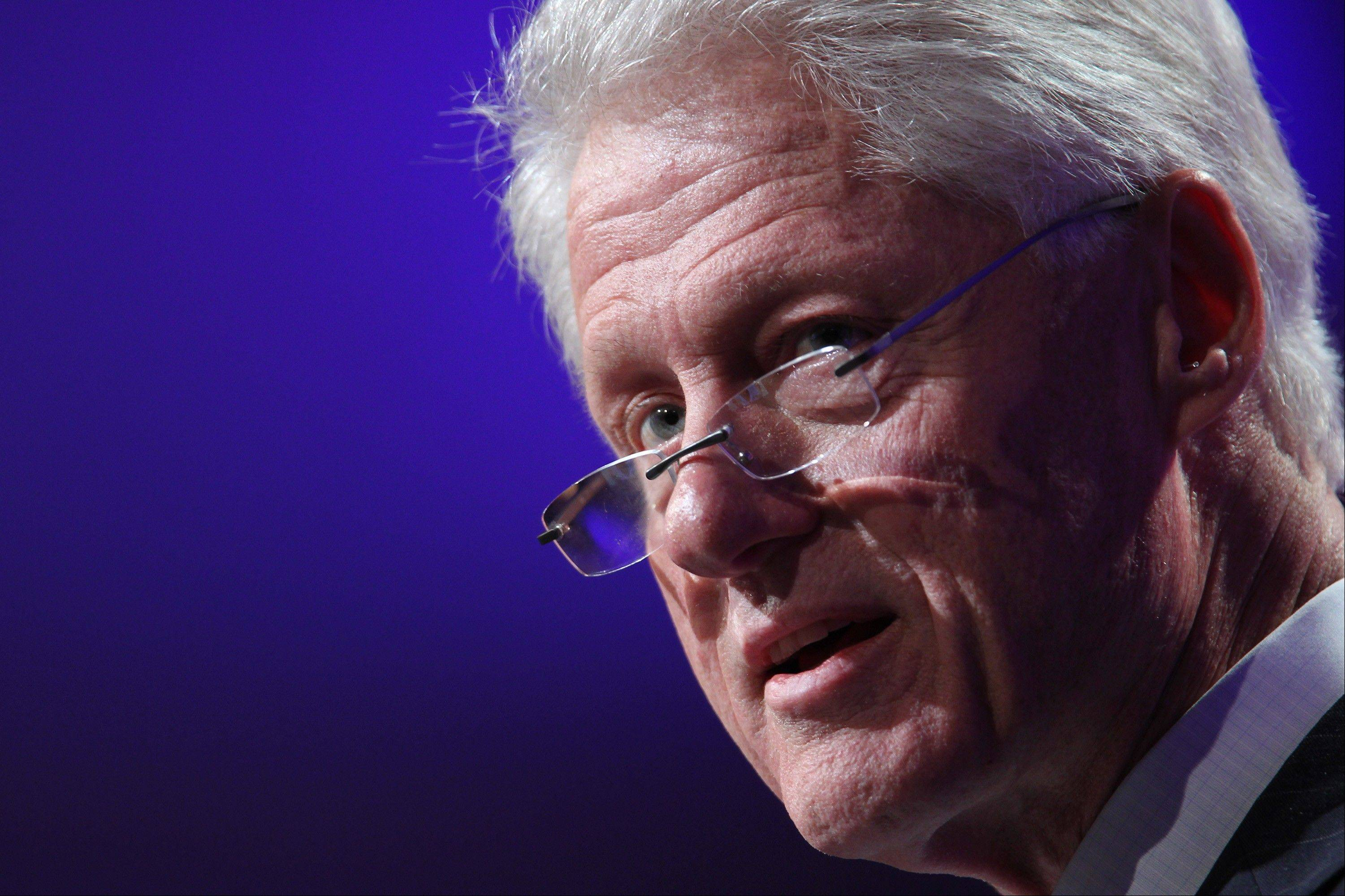 Former U.S. President Bill Clinton speaks during the Clinton Global Initiative in New York, U.S., on Sunday.