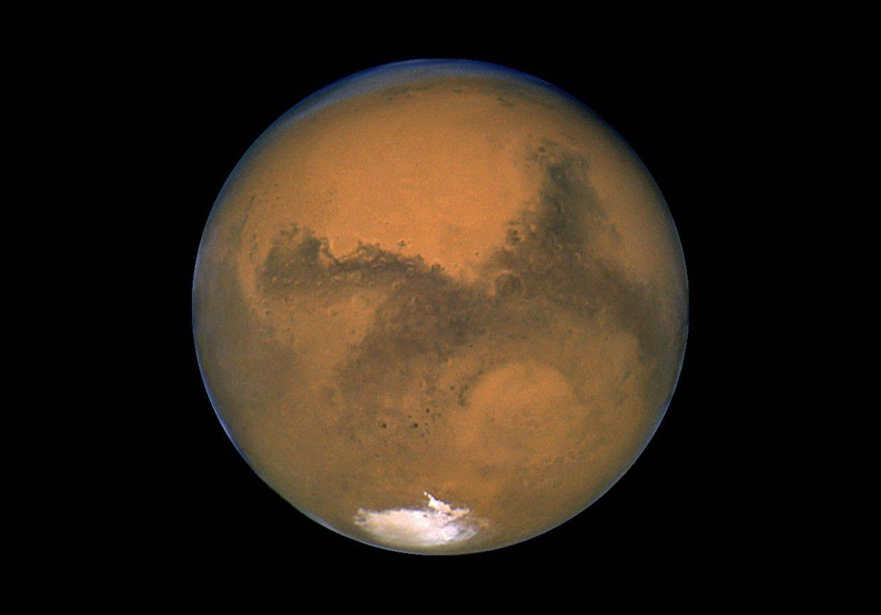 This Aug. 26, 2003, image made available by NASA shows Mars photographed by the Hubble Space Telescope on the planet's closest approach to Earth in 60,000 years.