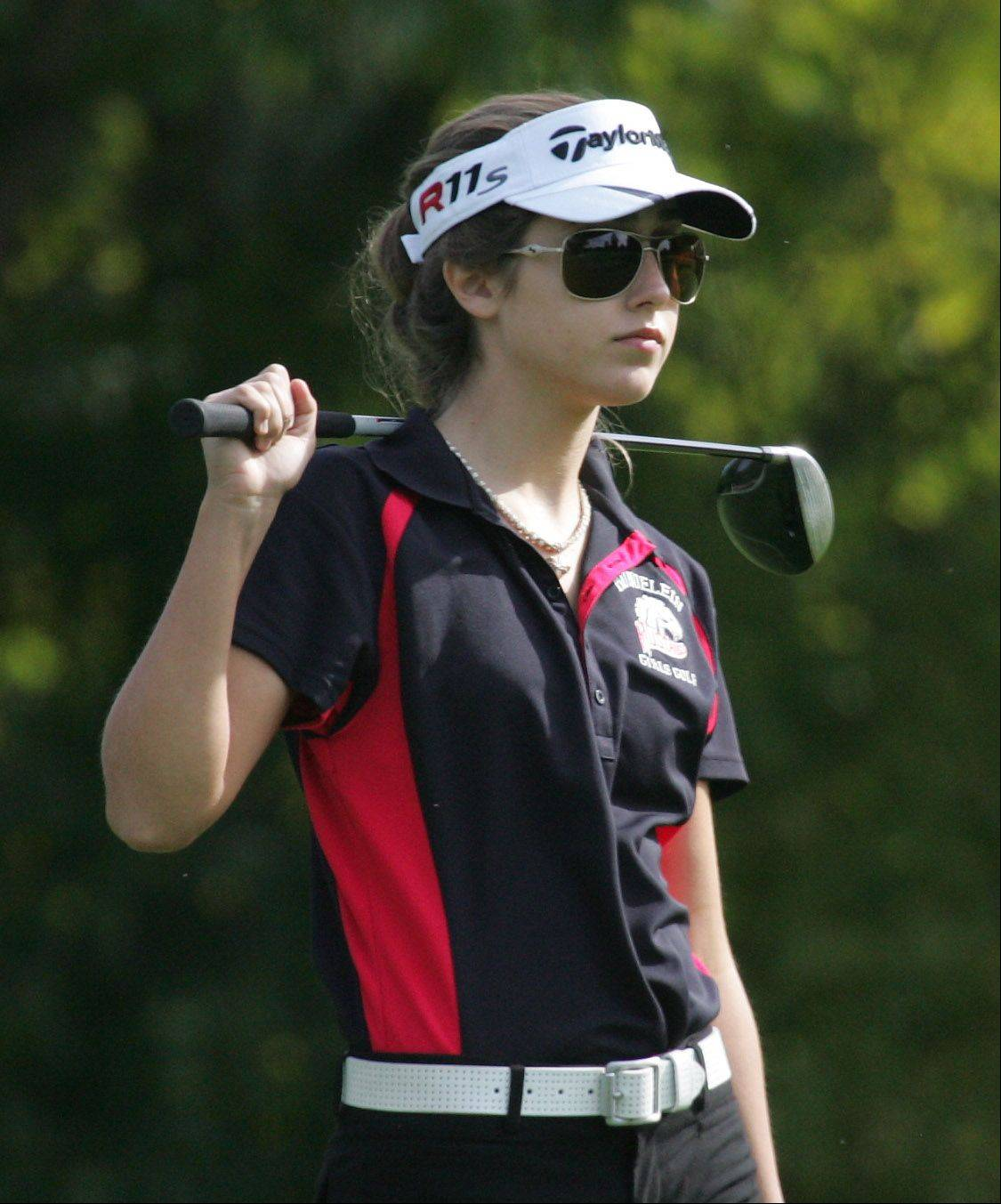 Mundelein golfer Courteney Fabbri during the North Suburban Conference girls golf tournament Tuesday at Deerpath Golf Course in Lake Forest.