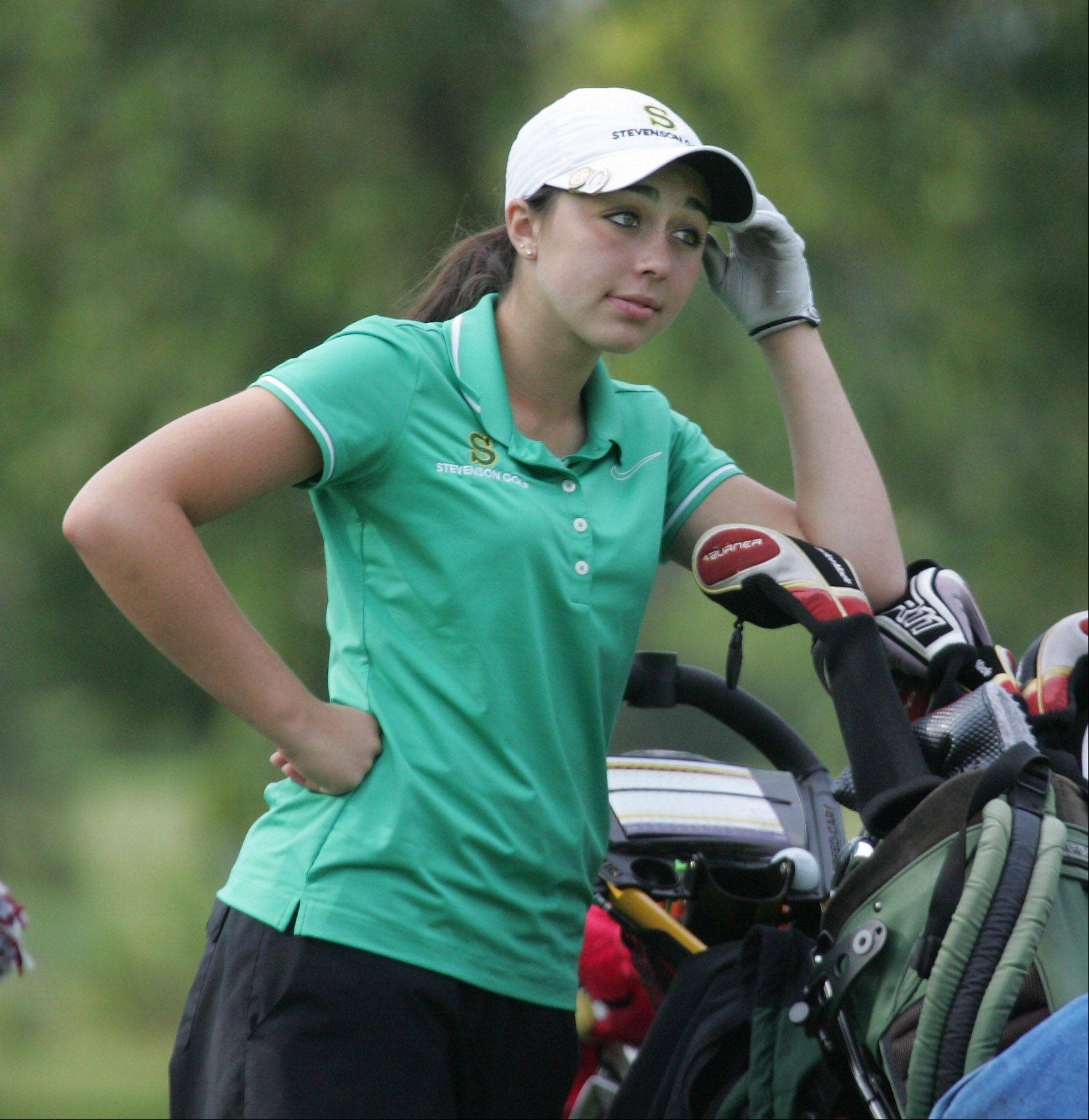 Stevenson golfer Stephanie Miller during the North Suburban Conference girls golf tournament Tuesday at Deerpath Golf Course in Lake Forest.