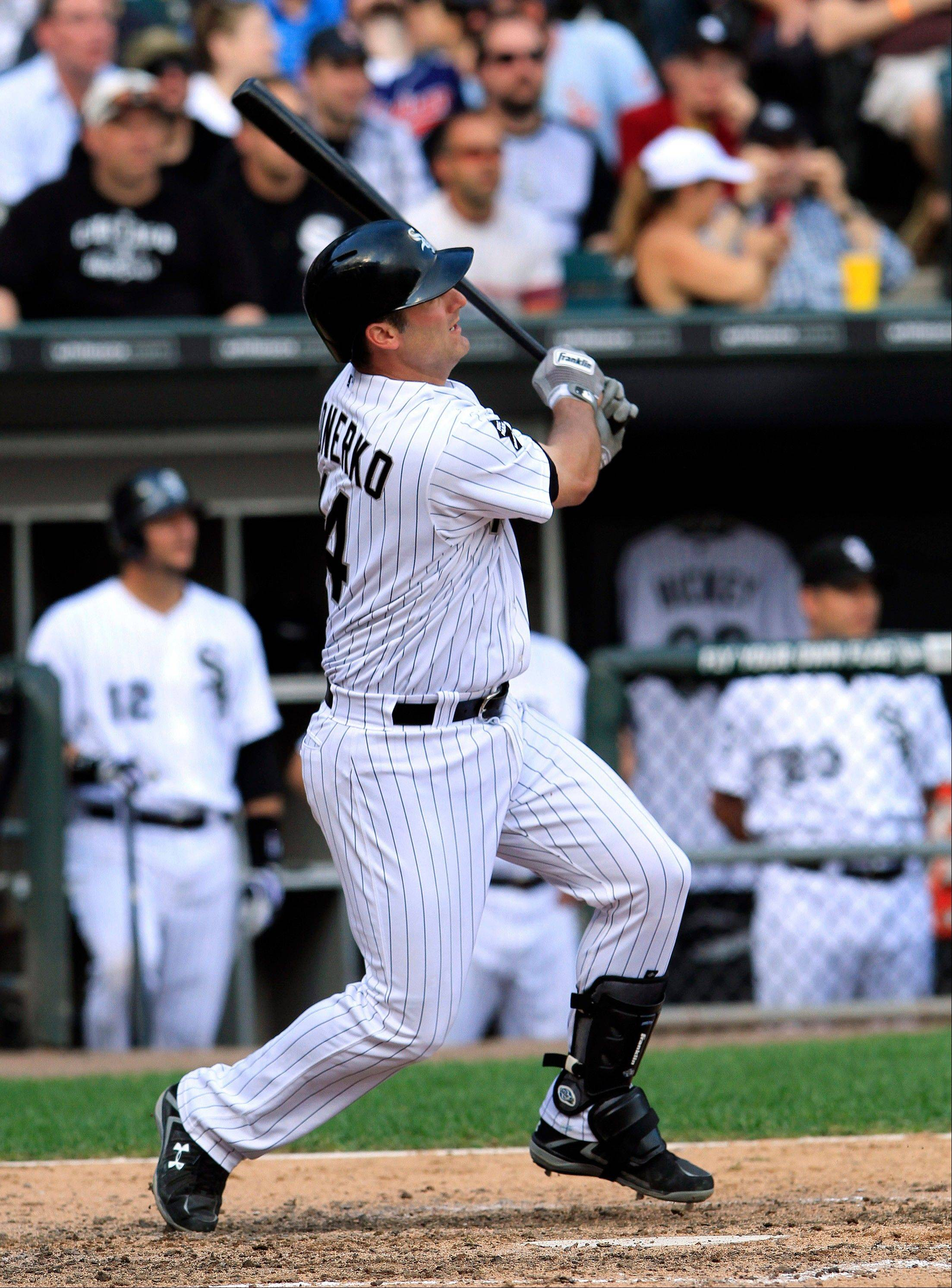 Paul Konerko hits a solo home run in the ninth inning Tuesday but the White Sox' offense ended there in the loss to Cleveland.