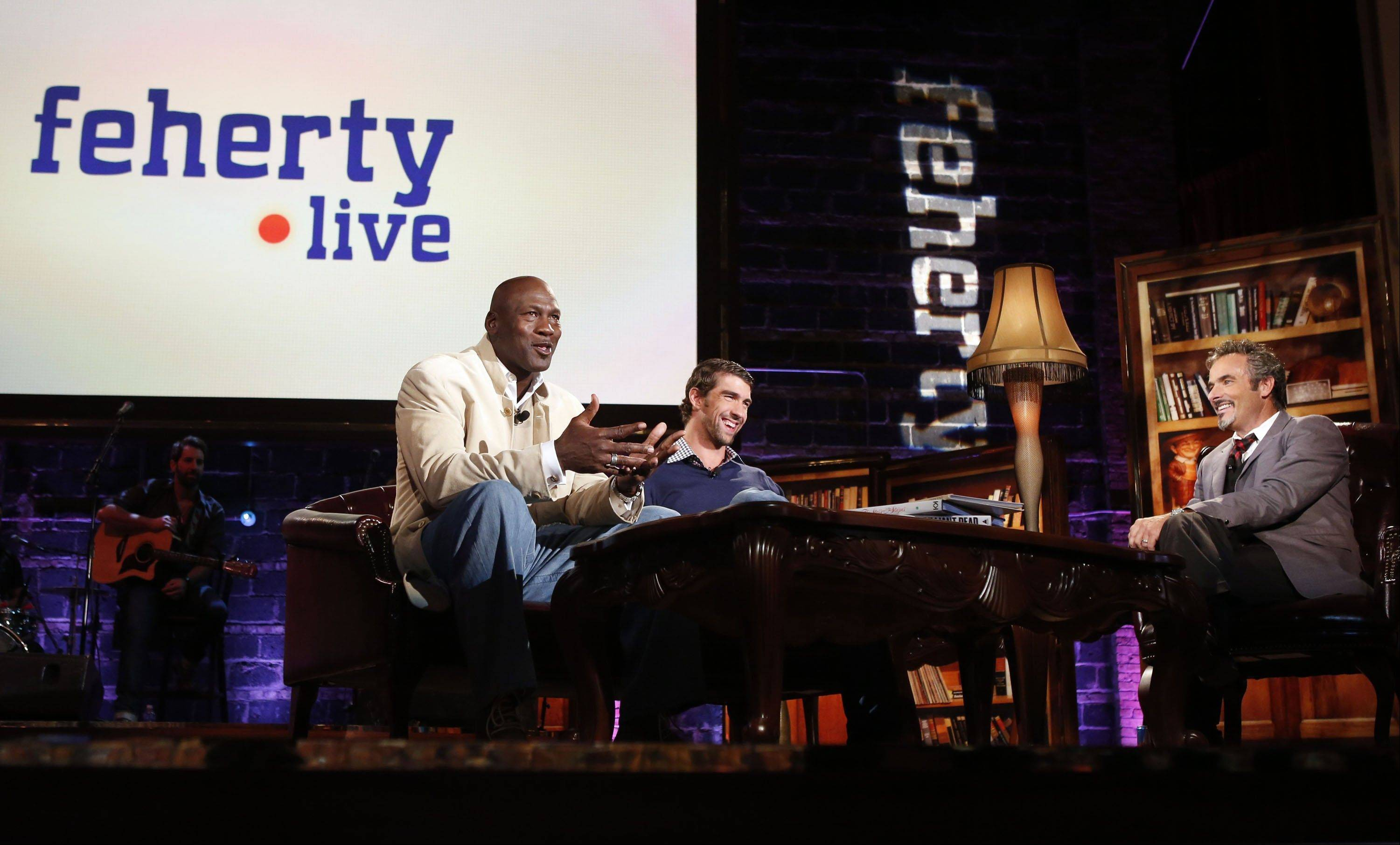 "Two sports legends, Michael Jordan and Michael Phelps, joined David Feherty at Golf Channel's ""Feherty Live from the Ryder Cup"" show, which was taped Monday at the Tivoli Theatre. It airs tonight at 8 p.m."