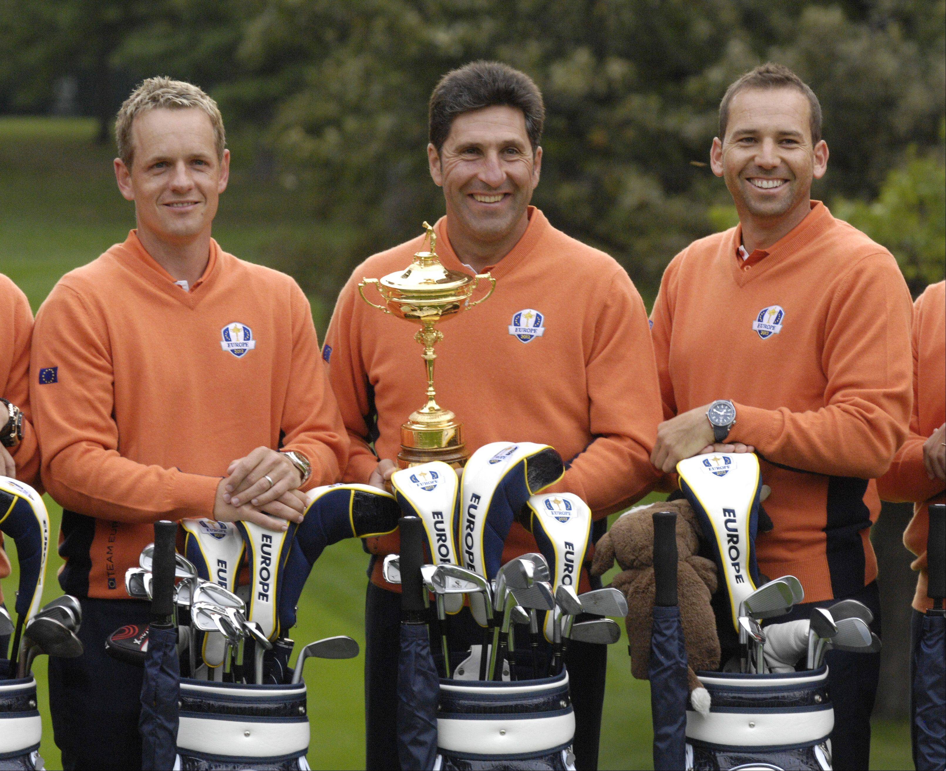 Luke Donald, captian Jose Maria Olazabal and Sergio Garcia of the European Ryder Cup team pose for their team portrait before taking in a practice round Tuesday.