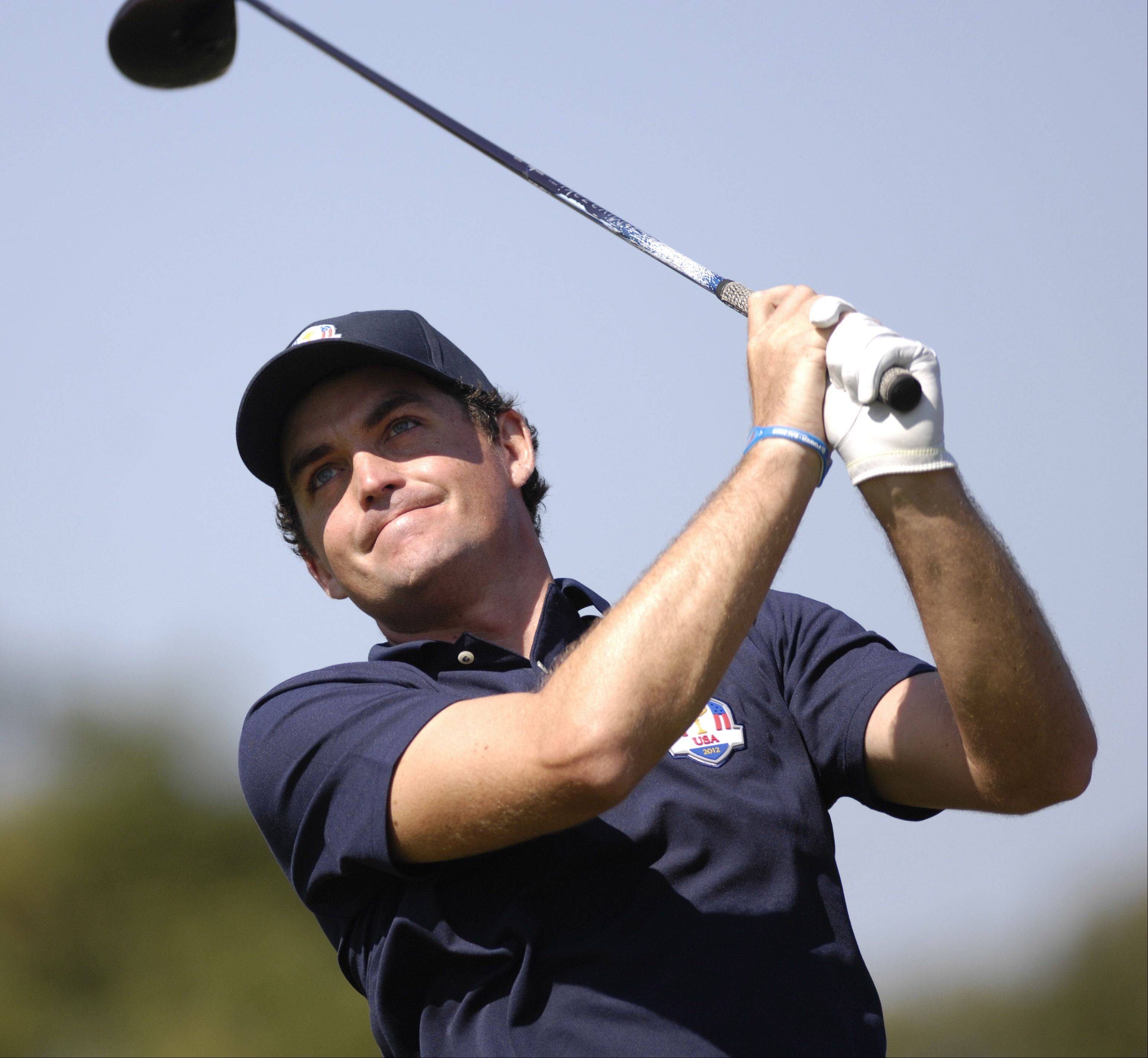 Team USA's Keegan Bradley watches a tee shot.