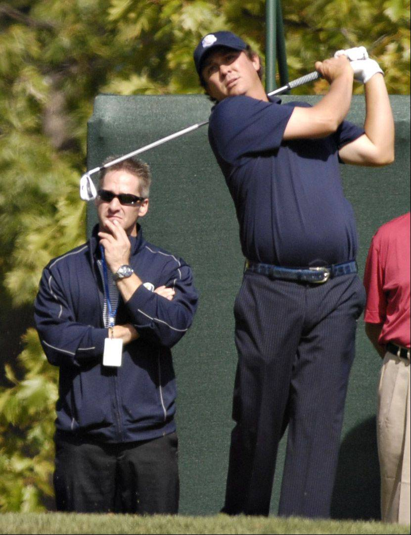Team USA's Jason Duffner tees off during a practice round.