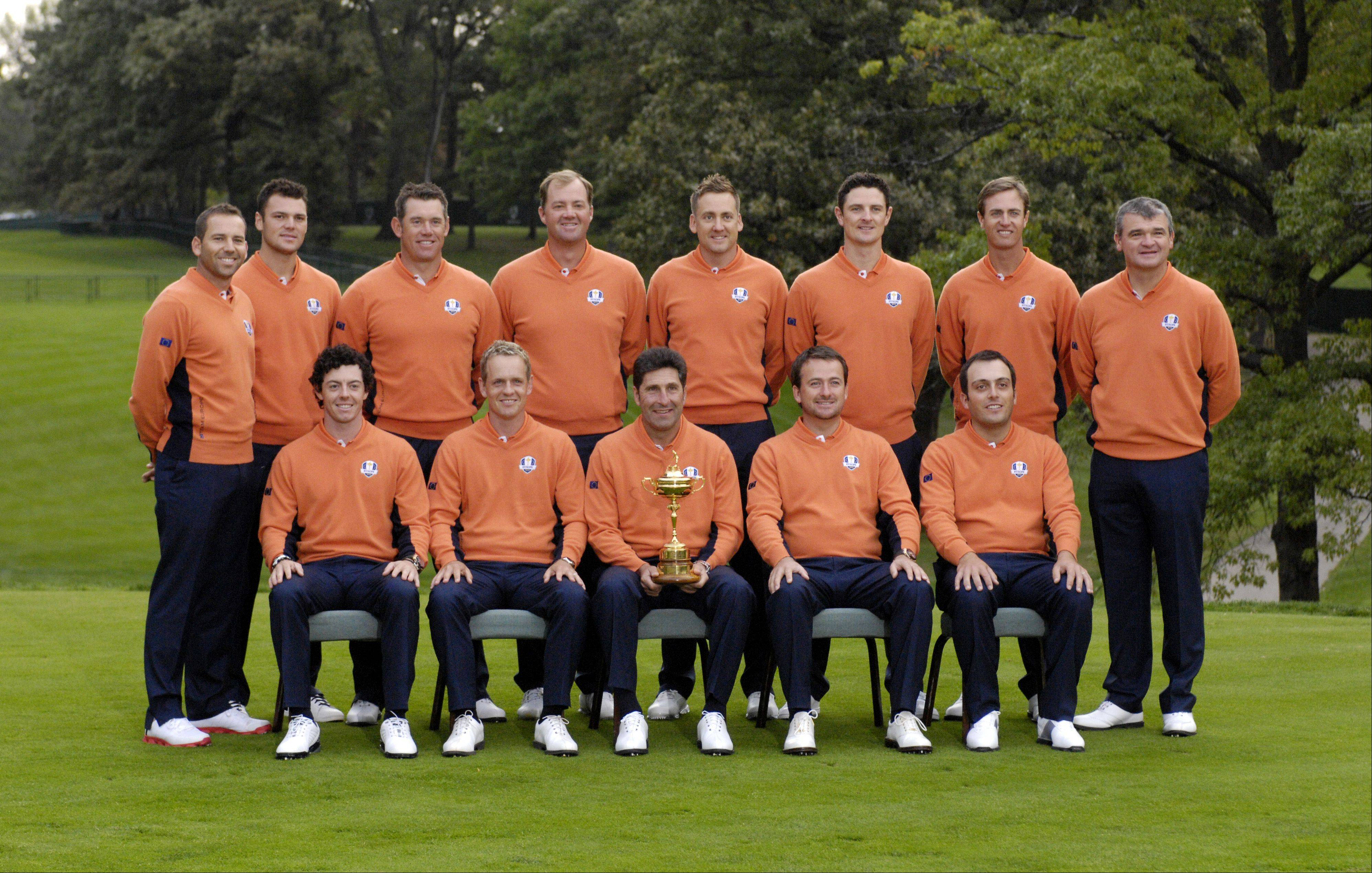 The European Ryder Cup team, lead by captian Jose Maria Olazabal, pose for their team portrait.
