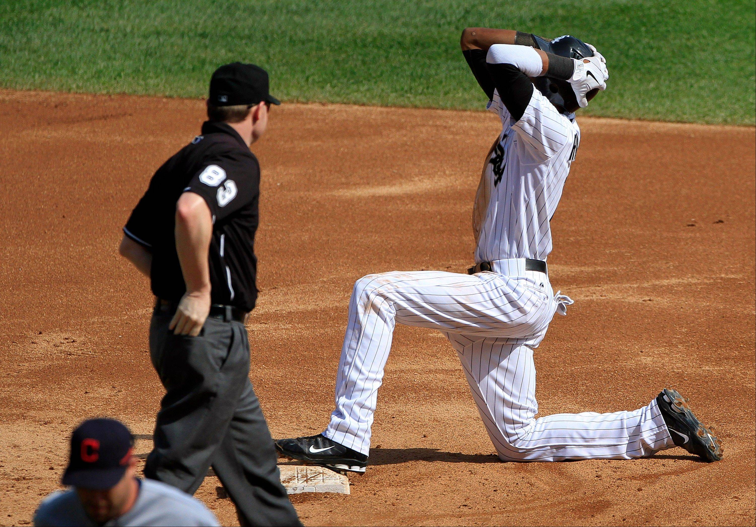 White Sox shortstop Alexei Ramirez reacts to being called out at stealing second base by umpire Mike Estabrook Tuesday during the third inning against the Cleveland Indians.