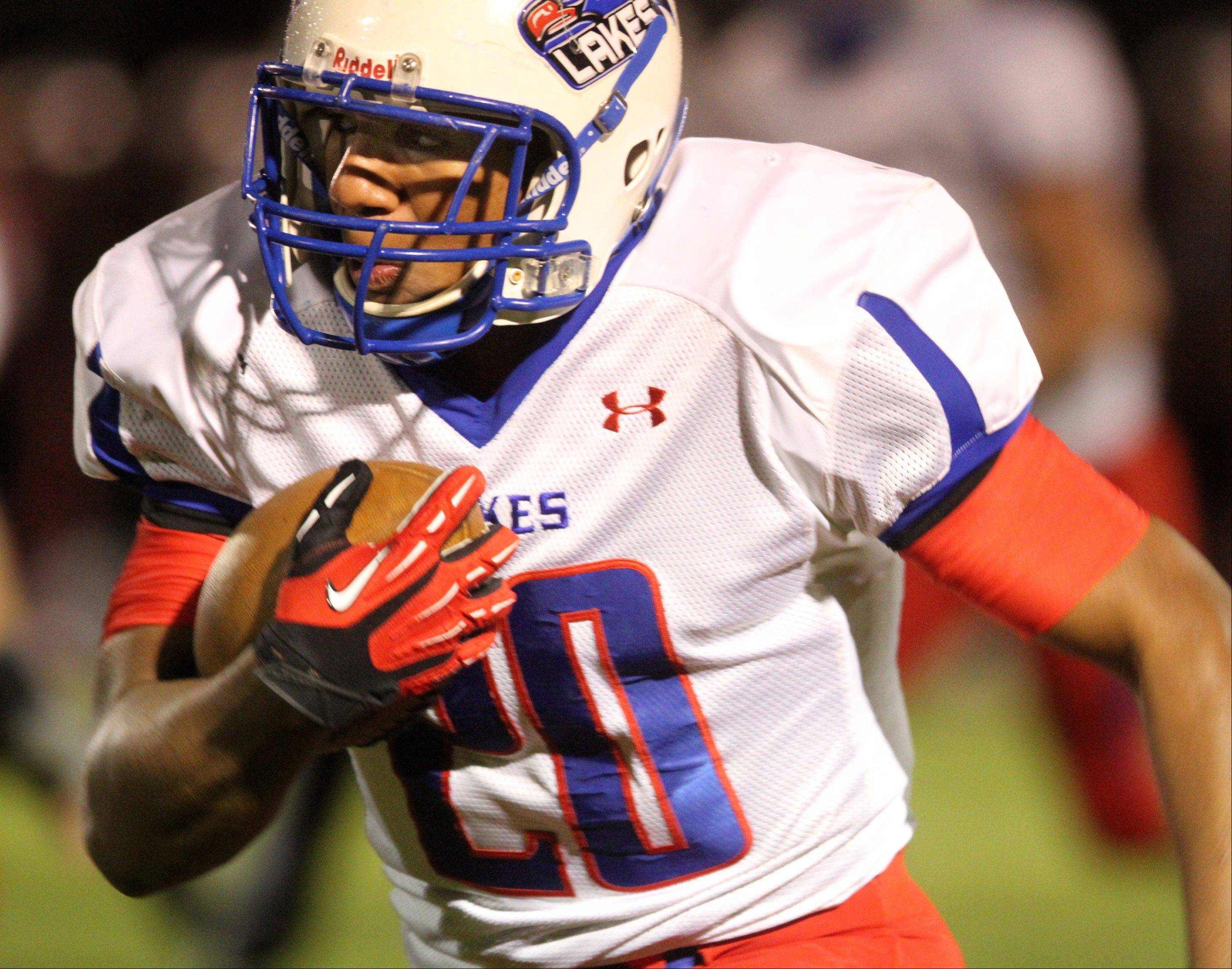Lakes running-back Direll Clark rushes for a touchdown against Antioch Friday in Antioch.