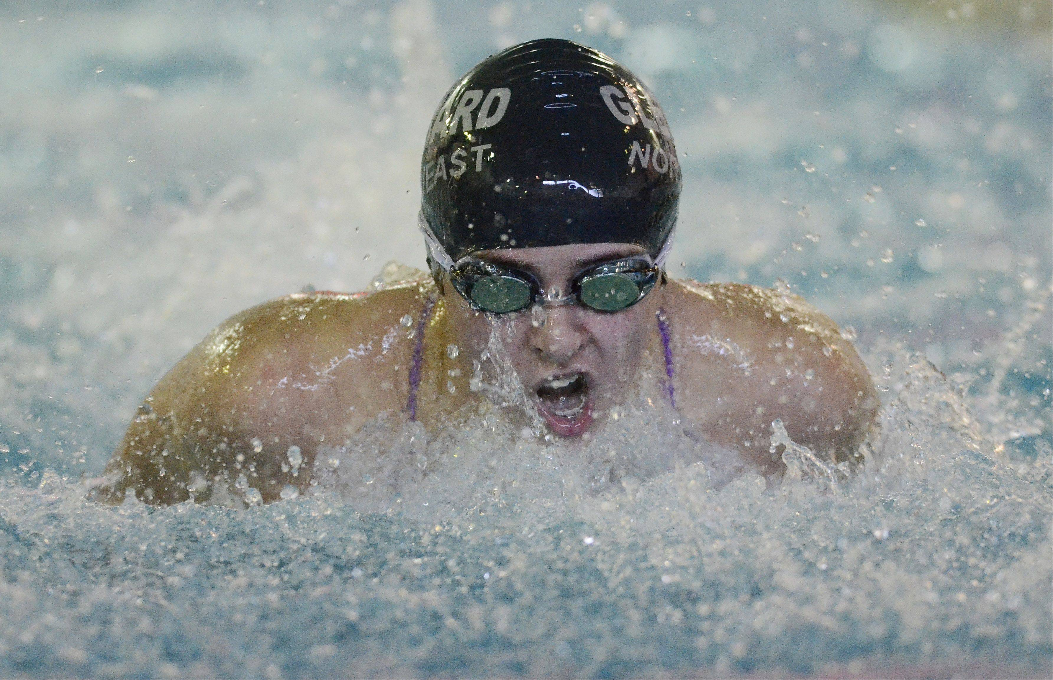 Glenbard North's Marisa Savegnago swims the 100-yard butterfly during the West Chicago girl's swimming invite Saturday.