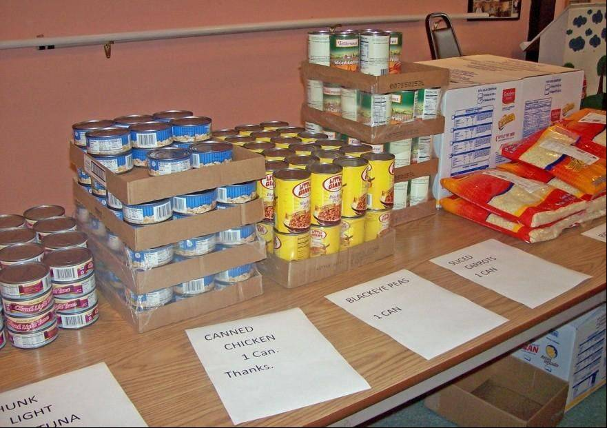 Food distributed to seniors includes rice and beans, canned fruits and vegetables, cereal/oatmeal, and canned chicken/tuna.