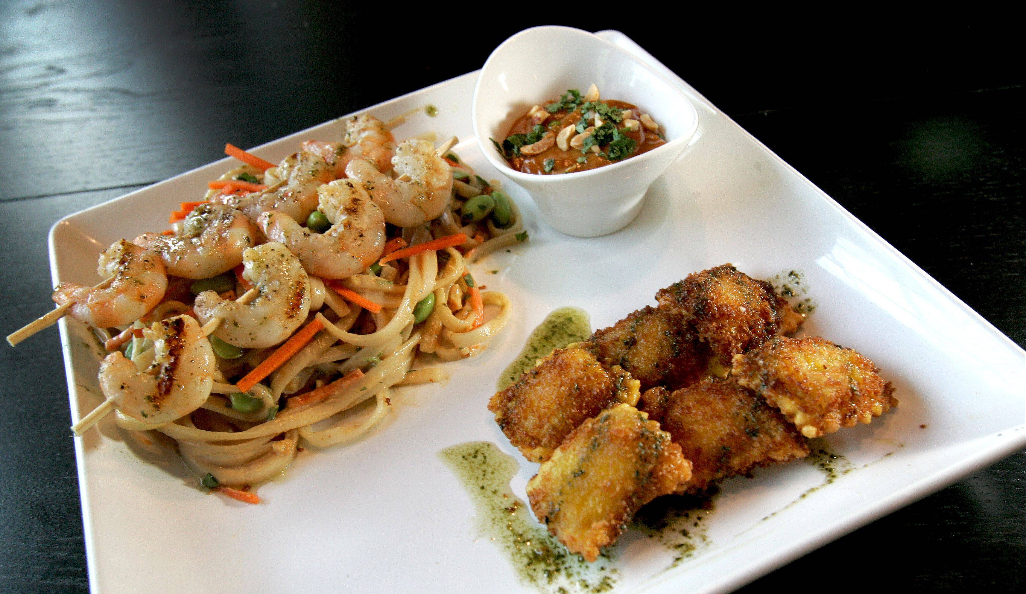 Thai Shrimp and Noodles with Fried Asian Ravioli