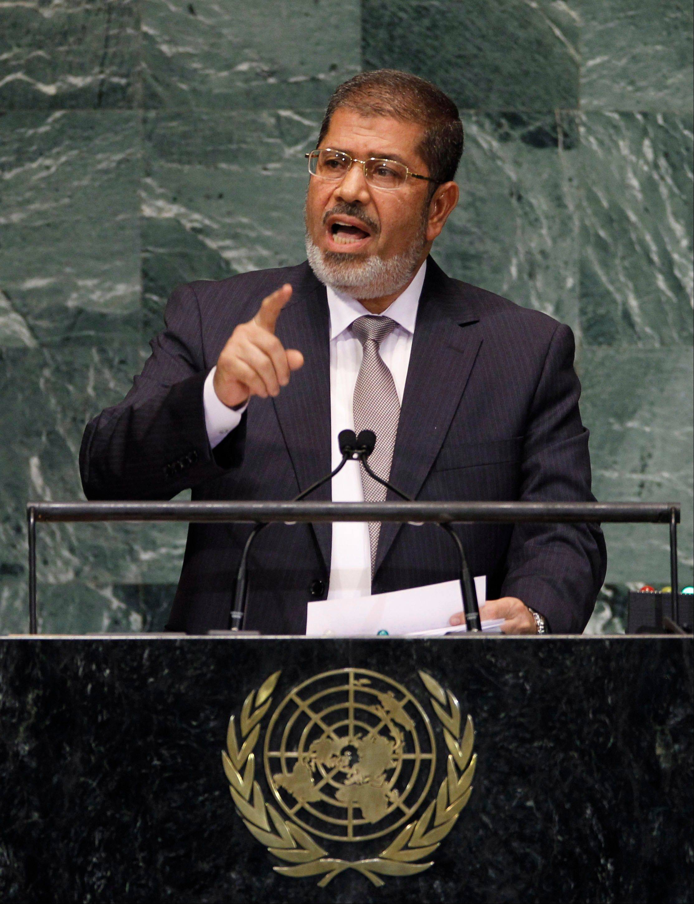 Mohammed Morsi, President of Egypt, addresses the 67th session of the United Nations General Assembly at U.N. headquarters Wednesday.
