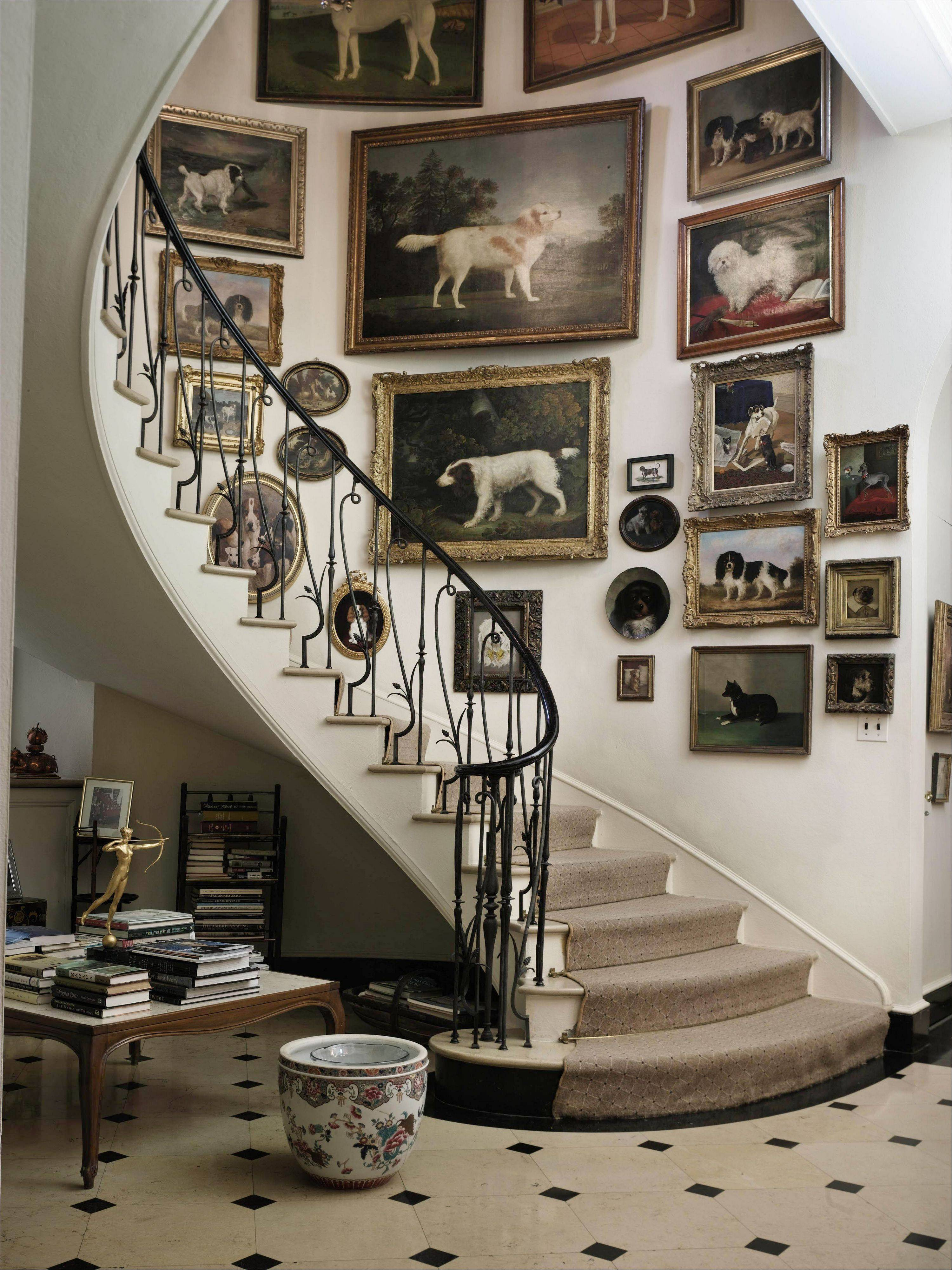 The pre-auction staircase at Brooke Astor's Westchester estate, Holly Hill, in Briarcliff Manor, New York.