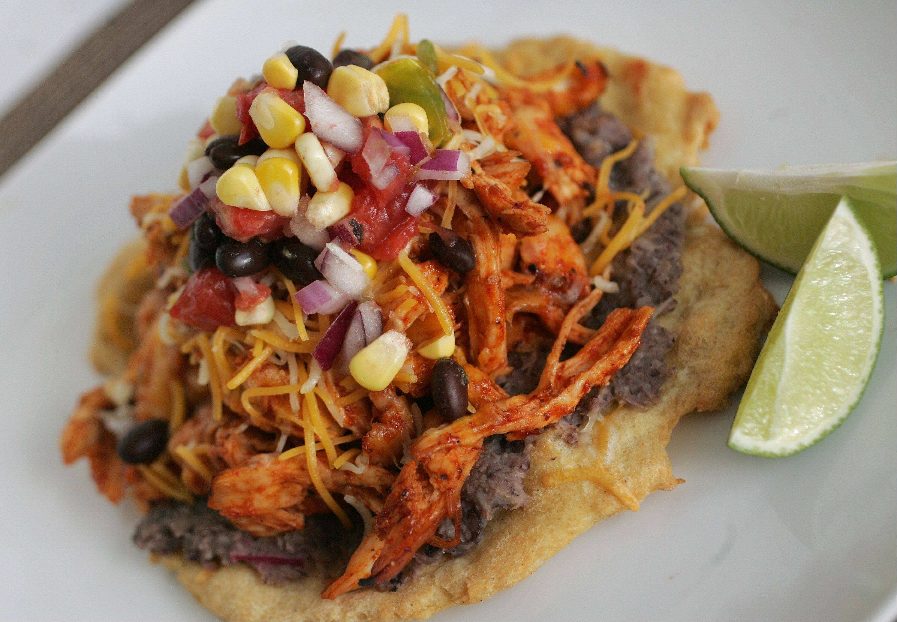 Sarah Lee created crispy tostadas from gluten-free pizza dough topped with spicy shredded chicken and refried salsify root.