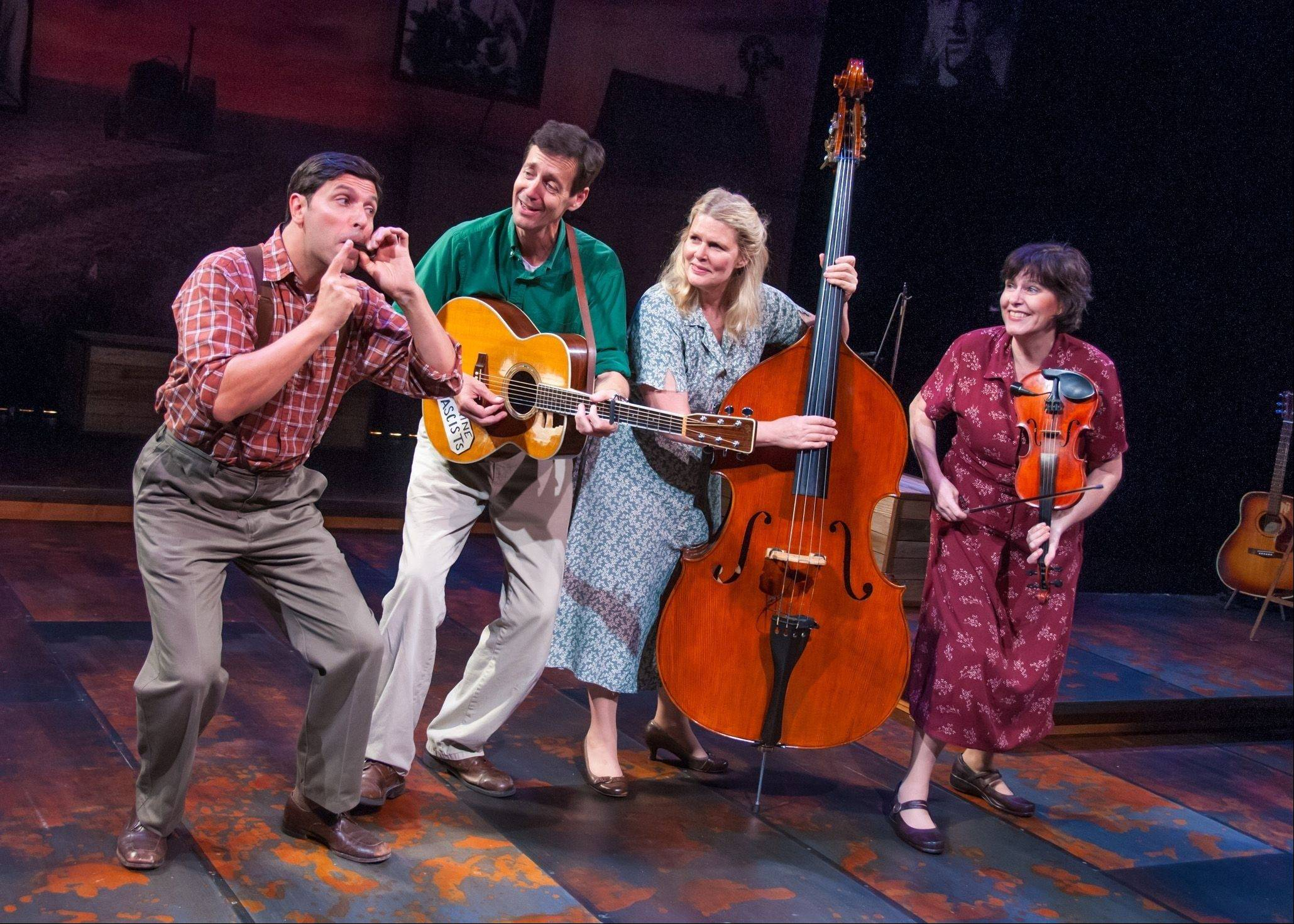 "David Finch, left, David M. Lutken, Helen J. Russell and Darcie Deaville make up the first-rate quartet of musician/actors starring in Northlight Theatre's ""Woody Sez."""