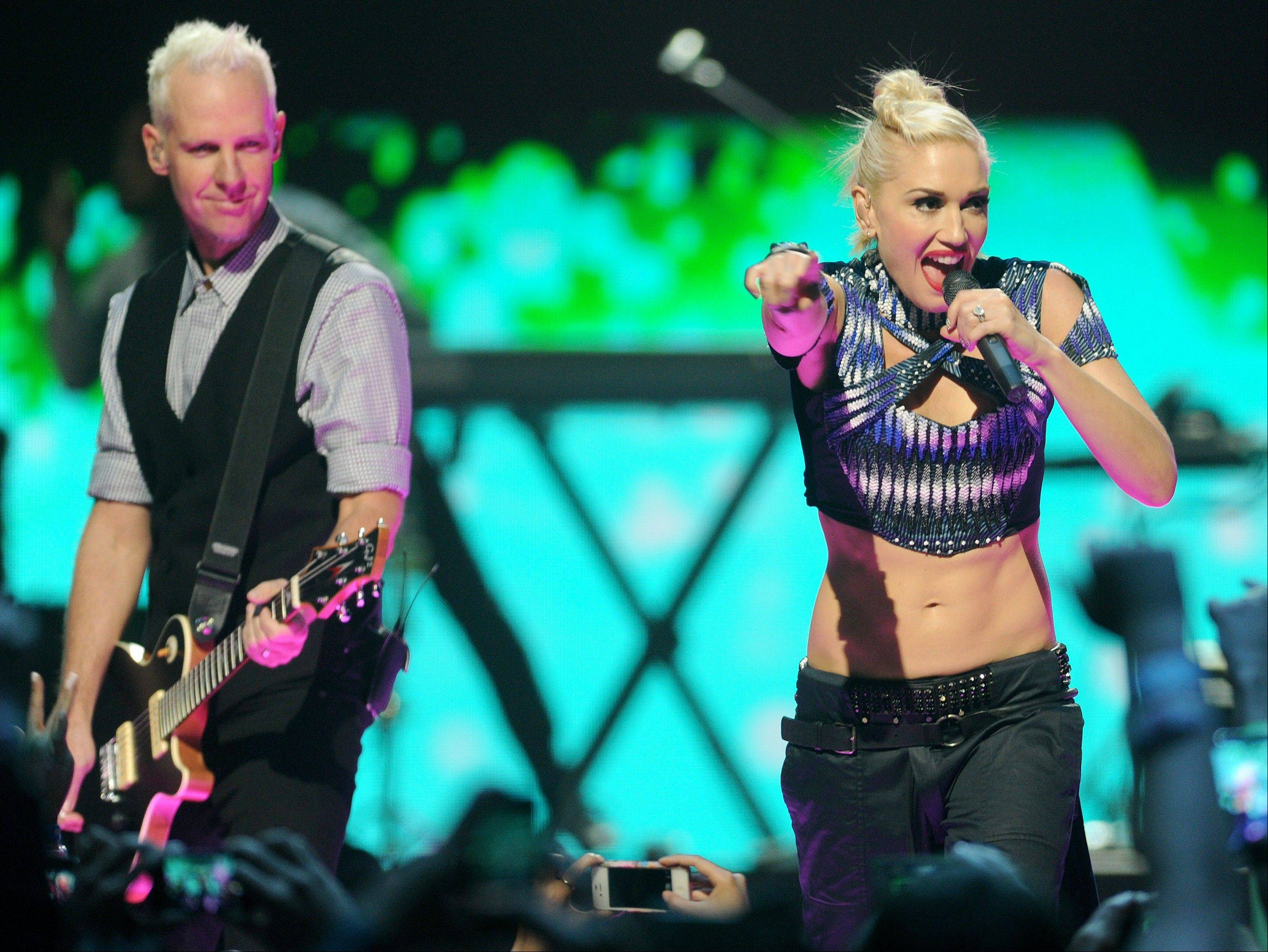 "Gwen Stefani and Tom Dumont of No Doubt blend the band's signature mix of ska and British New Wave once again on ""Push and Shove."""
