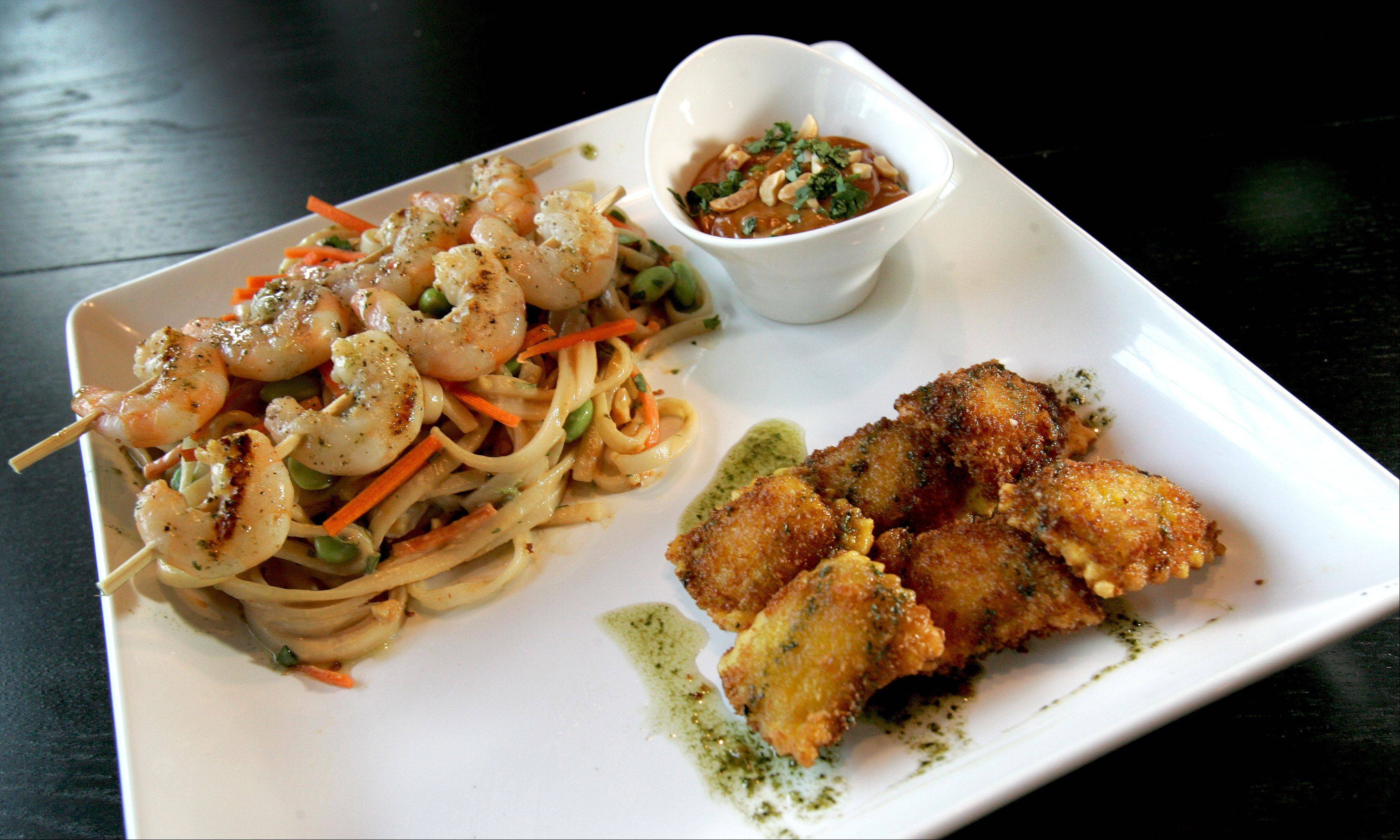 Thai shrimp and noodles with Asian fried ravioli