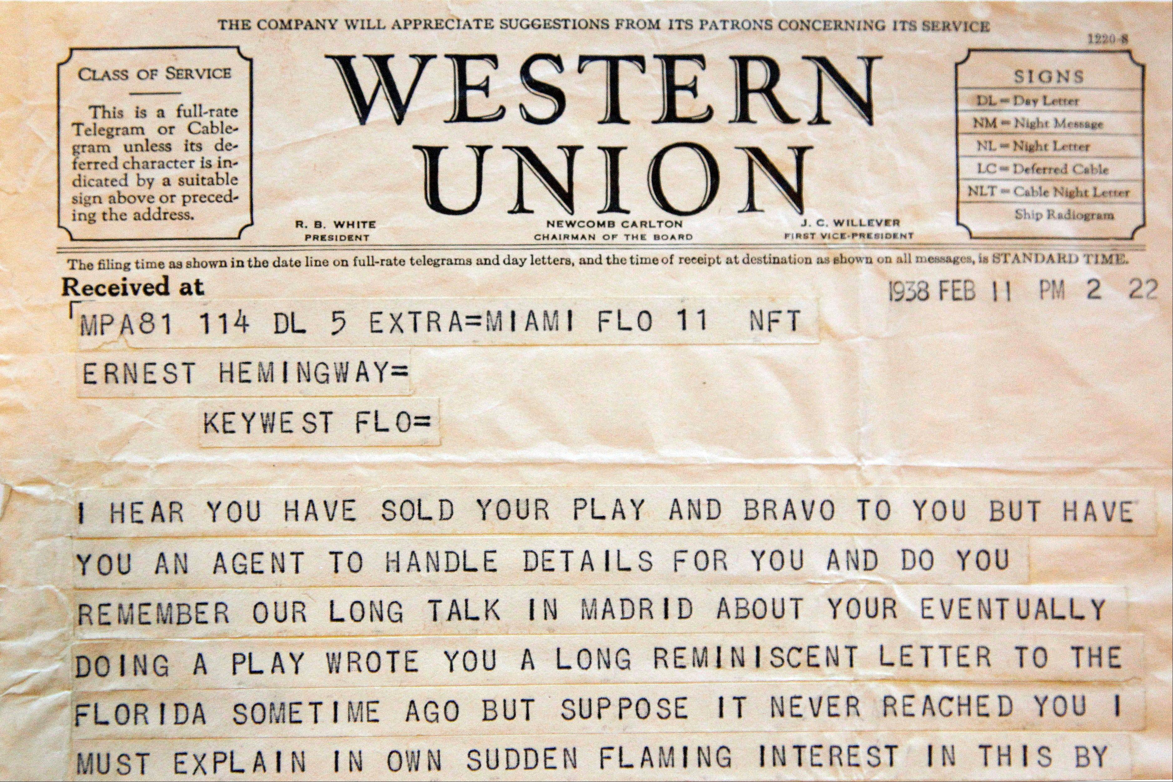 A telegram sent to Ernest Hemingway from American theater producer Jean Dalrymple in 1938.
